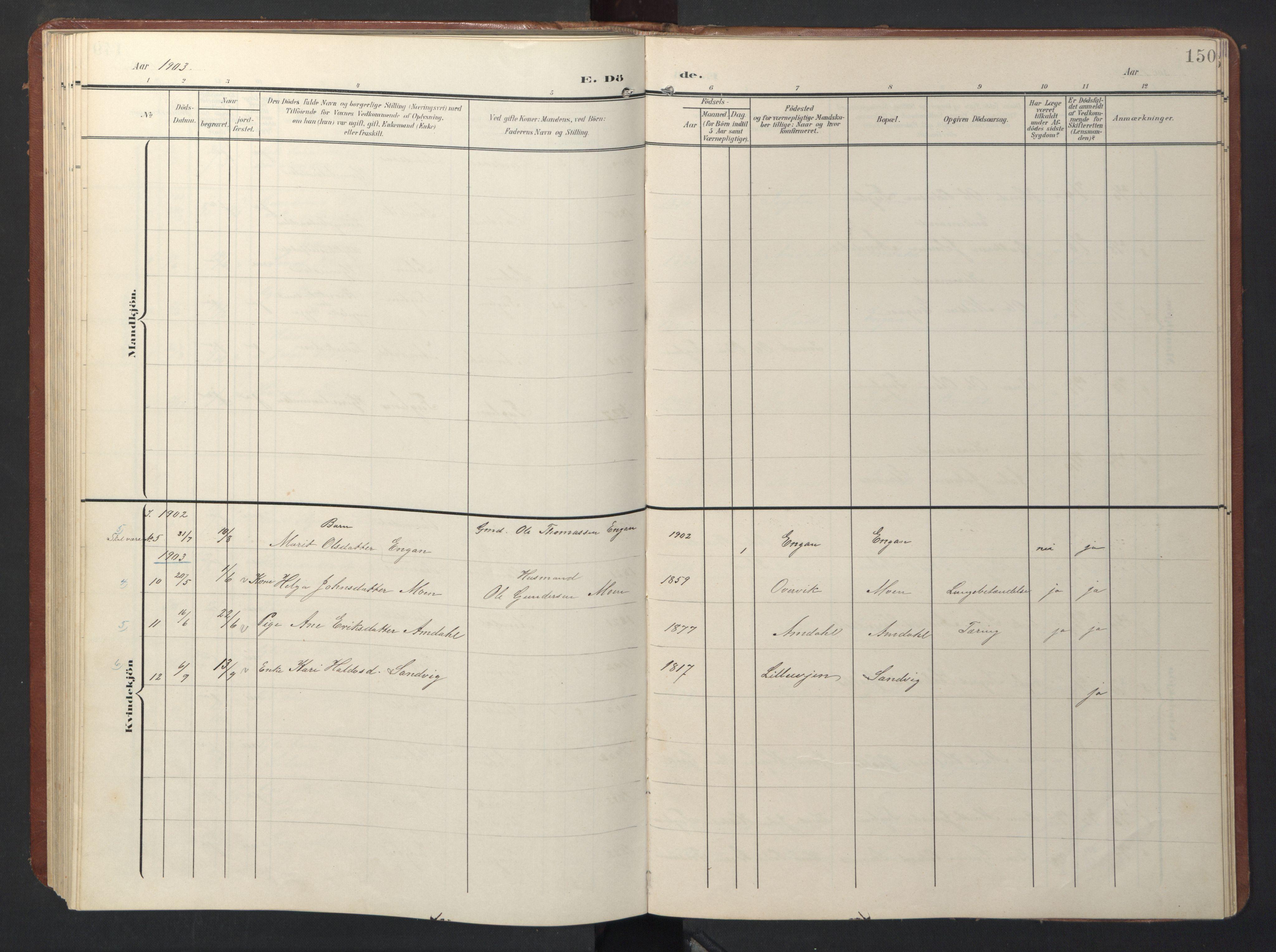 SAT, Ministerialprotokoller, klokkerbøker og fødselsregistre - Sør-Trøndelag, 696/L1161: Klokkerbok nr. 696C01, 1902-1950, s. 150