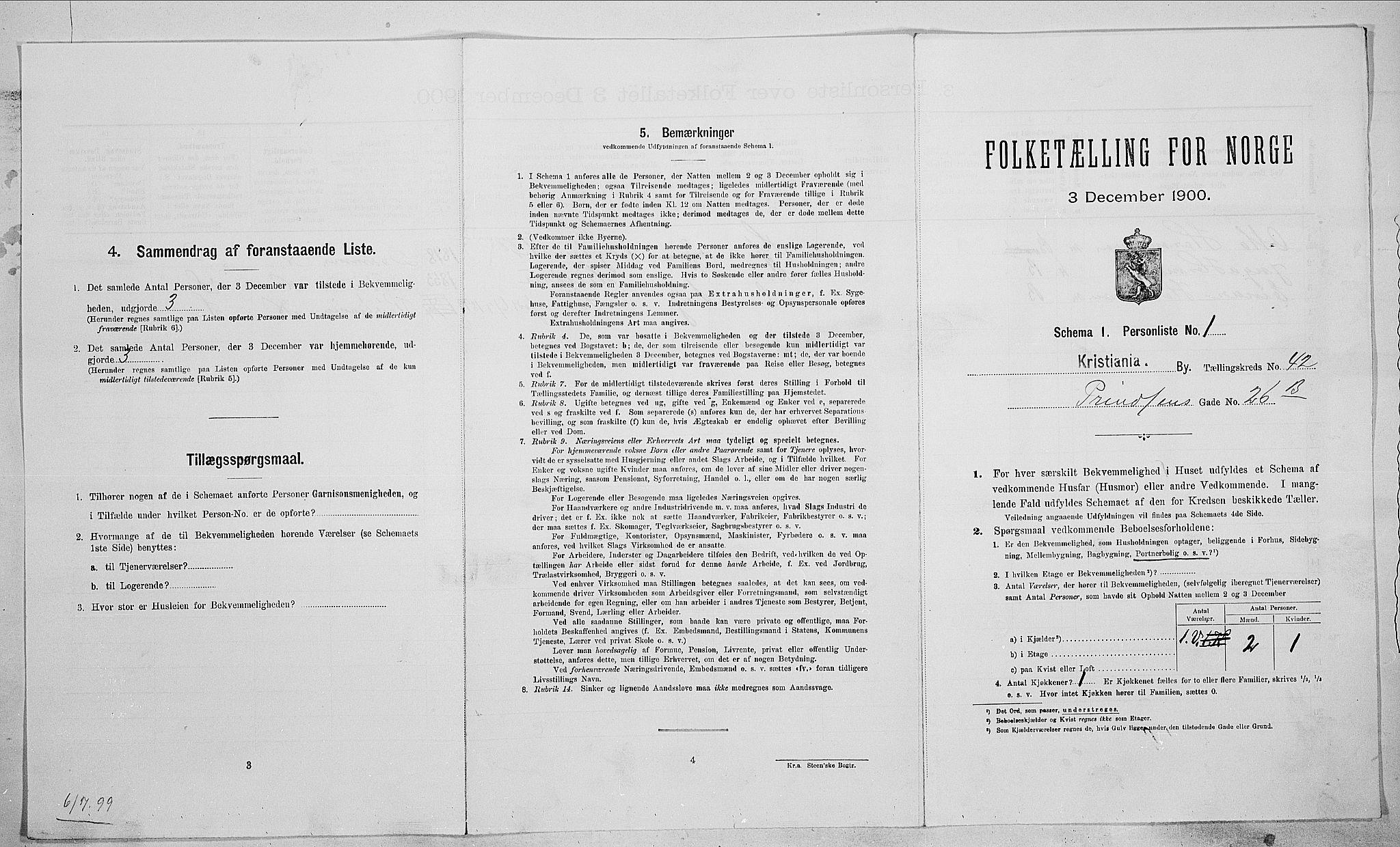 SAO, Folketelling 1900 for 0301 Kristiania kjøpstad, 1900, s. 73129