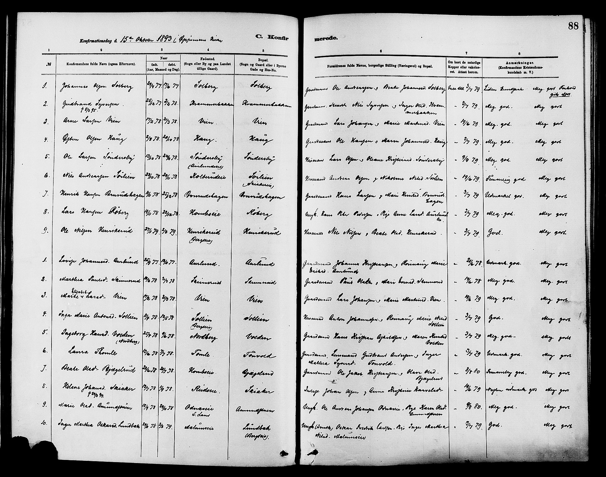 SAH, Nordre Land prestekontor, Ministerialbok nr. 3, 1882-1896, s. 88