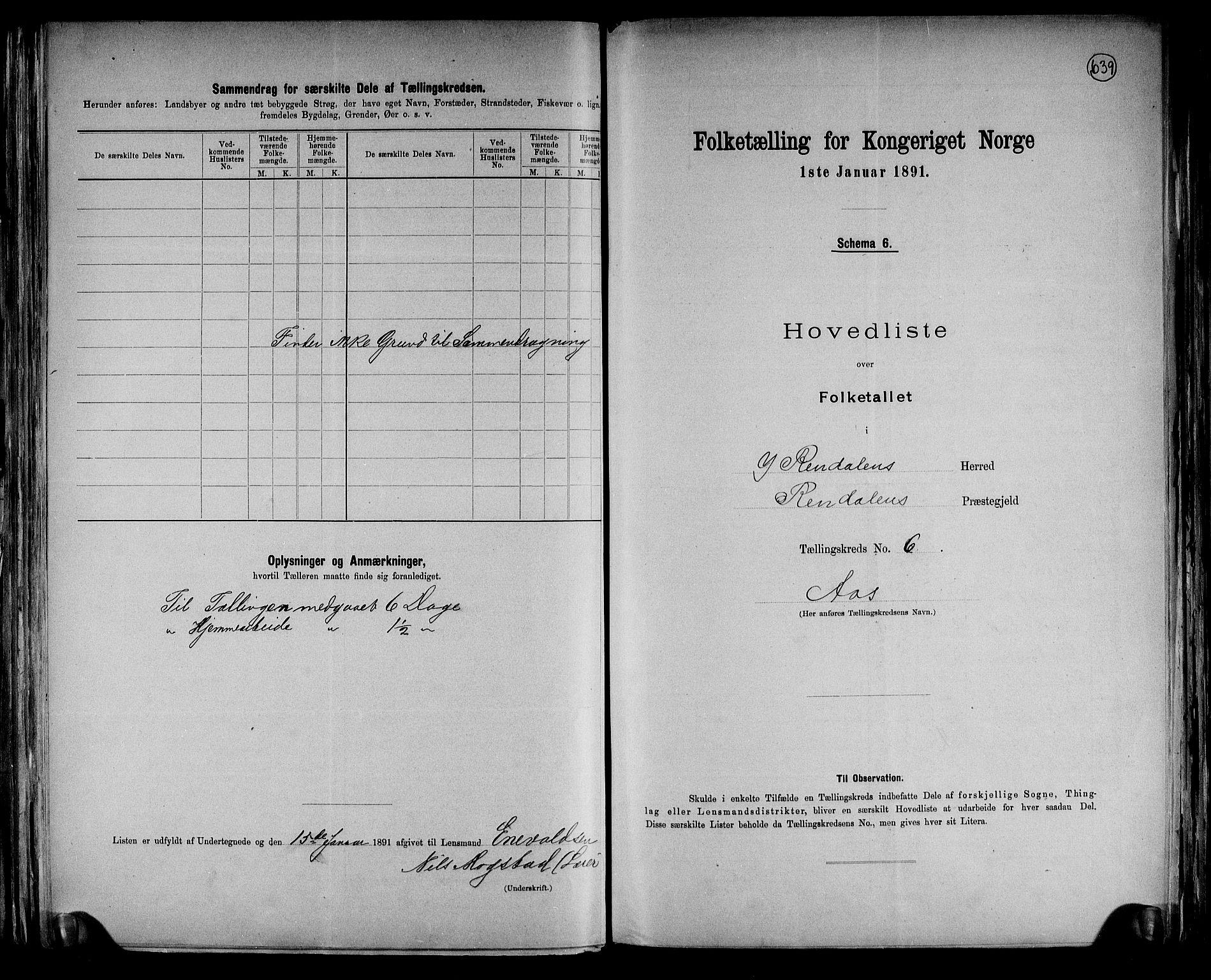 RA, Folketelling 1891 for 0432 Ytre Rendal herred, 1891, s. 15