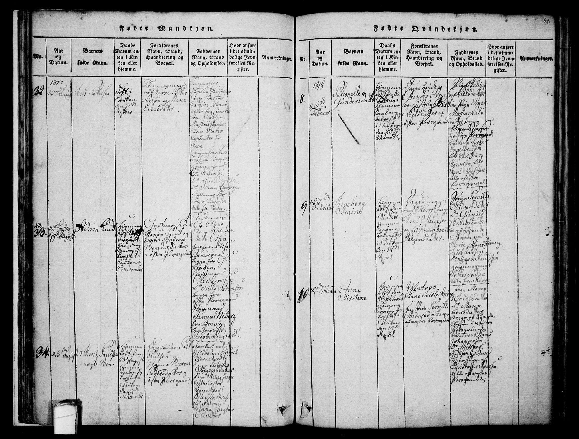 SAKO, Porsgrunn kirkebøker , F/Fa/L0004: Ministerialbok nr. 4, 1814-1828, s. 42