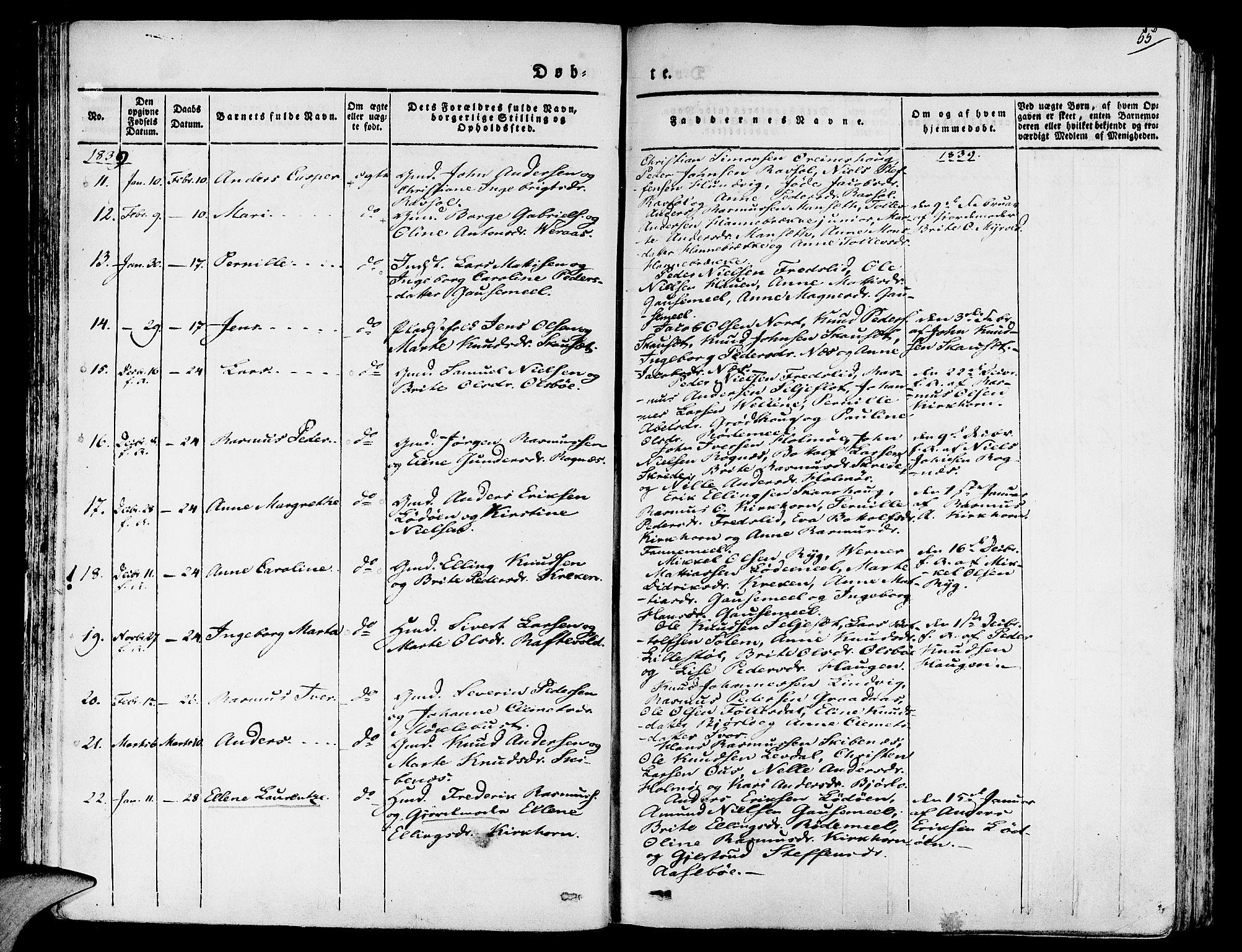 SAB, Eid sokneprestembete, H/Haa/Haaa/L0006: Ministerialbok nr. A 6, 1831-1843, s. 55