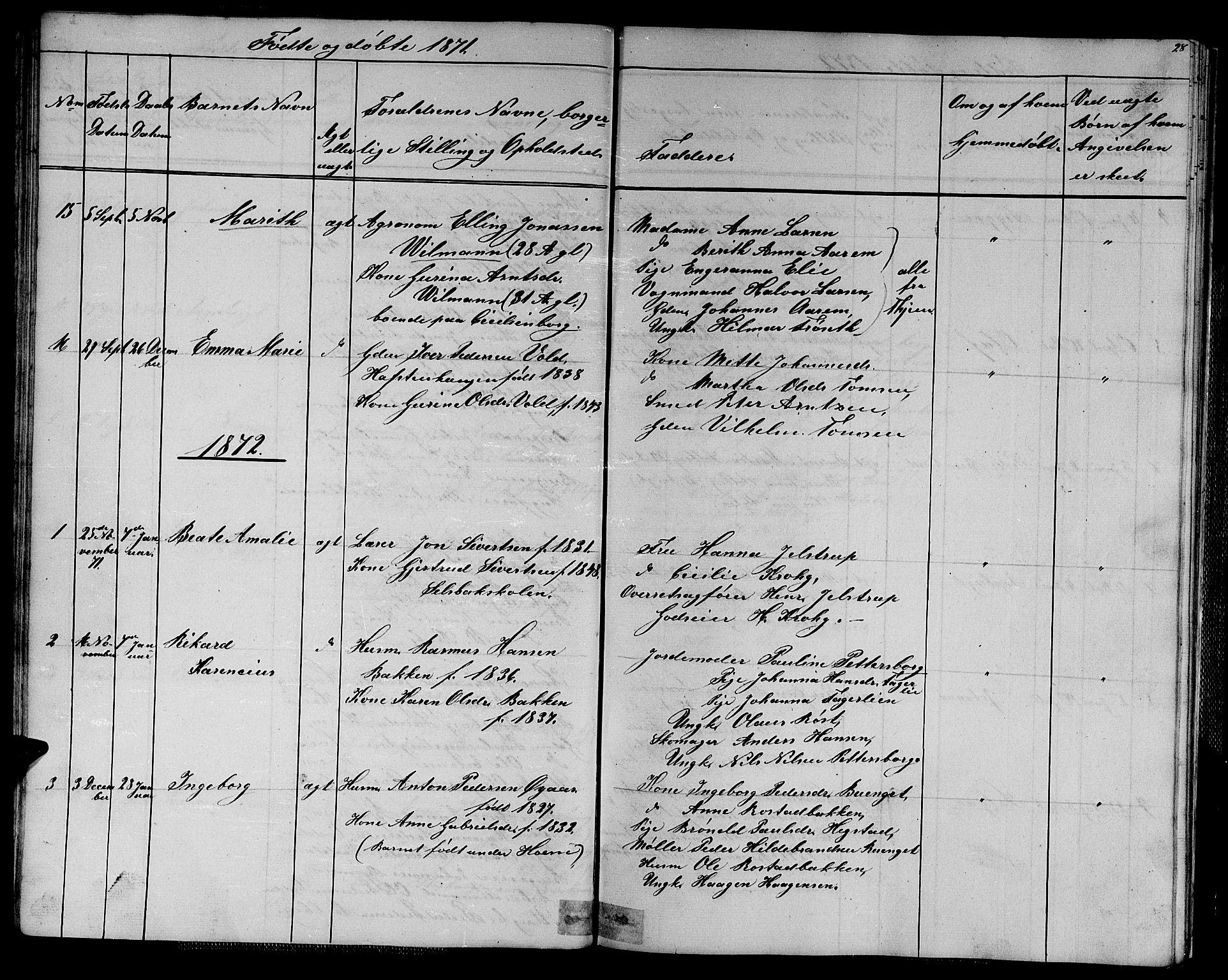 SAT, Ministerialprotokoller, klokkerbøker og fødselsregistre - Sør-Trøndelag, 611/L0353: Klokkerbok nr. 611C01, 1854-1881, s. 28