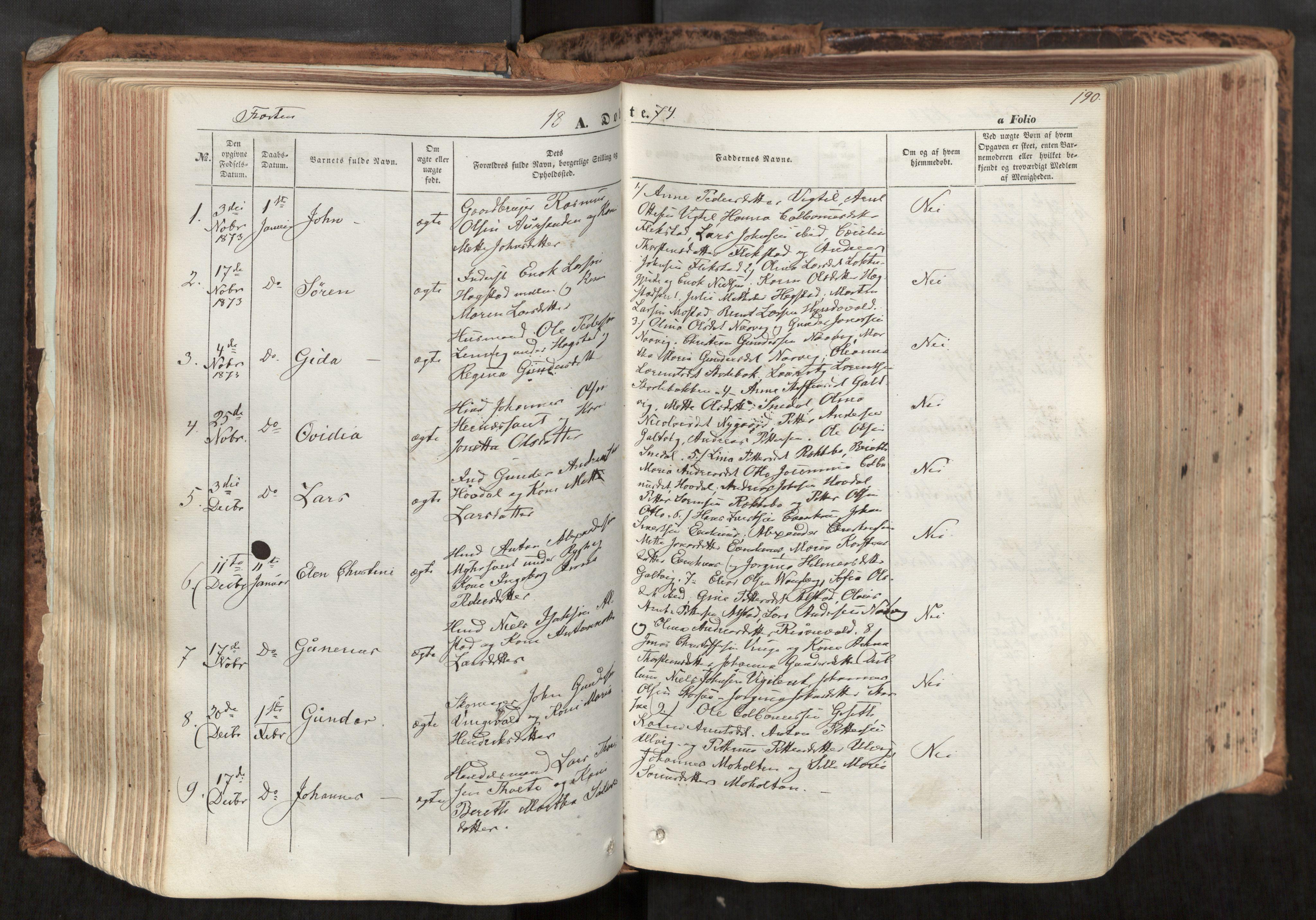 SAT, Ministerialprotokoller, klokkerbøker og fødselsregistre - Nord-Trøndelag, 713/L0116: Ministerialbok nr. 713A07, 1850-1877, s. 190