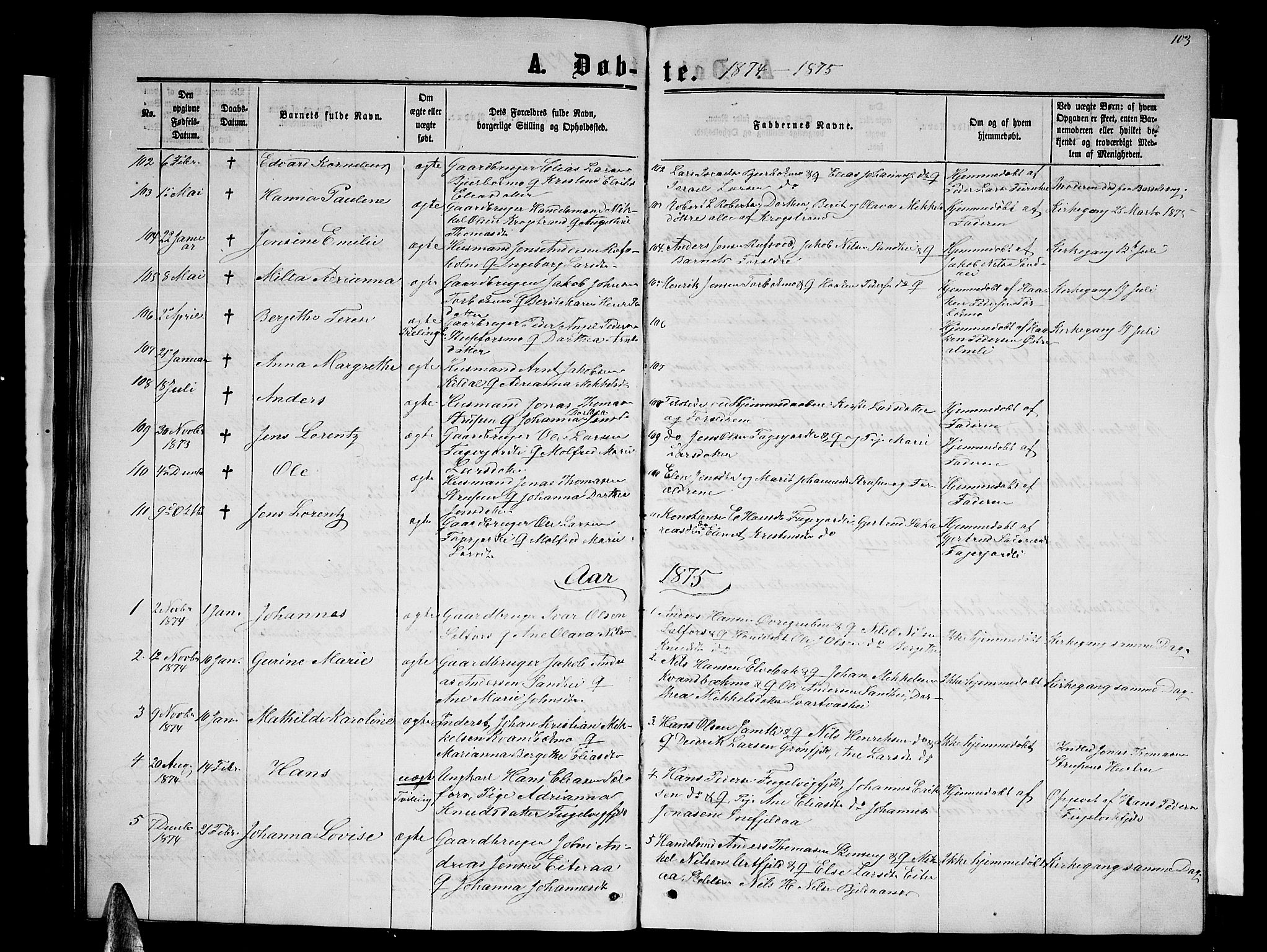 SAT, Ministerialprotokoller, klokkerbøker og fødselsregistre - Nordland, 827/L0415: Klokkerbok nr. 827C04, 1864-1886, s. 103