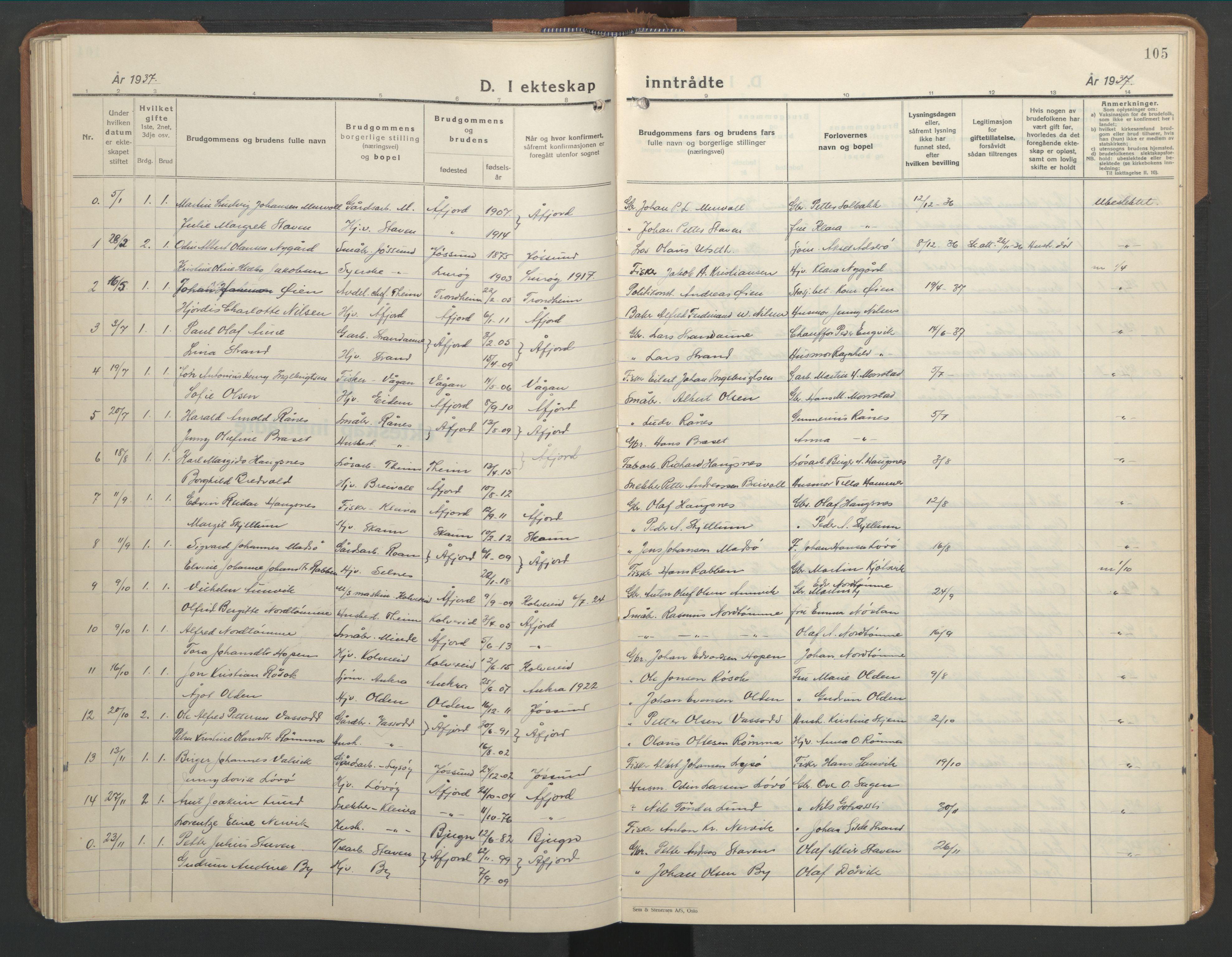 SAT, Ministerialprotokoller, klokkerbøker og fødselsregistre - Sør-Trøndelag, 655/L0690: Klokkerbok nr. 655C06, 1937-1950, s. 105