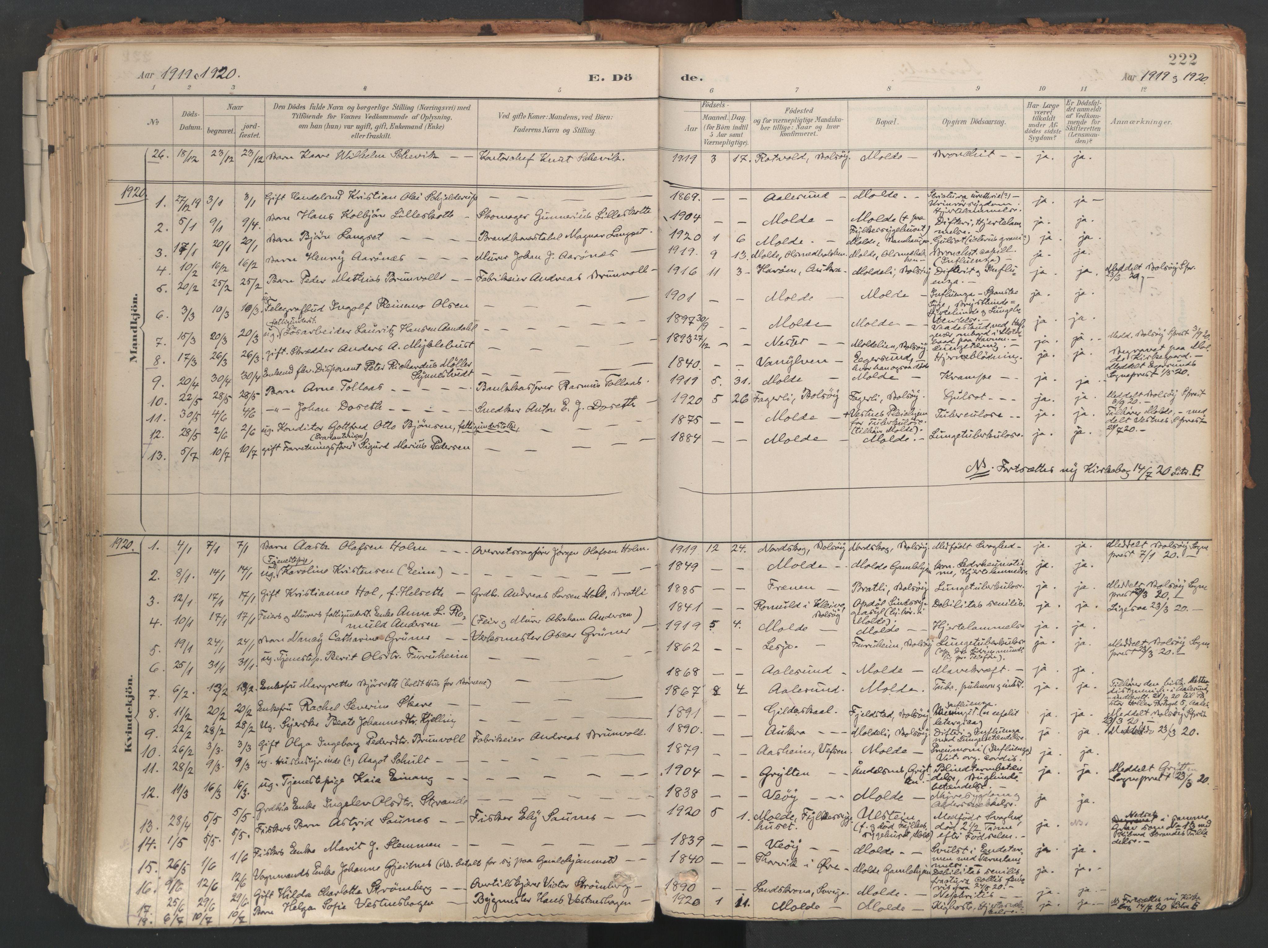 SAT, Ministerialprotokoller, klokkerbøker og fødselsregistre - Møre og Romsdal, 558/L0692: Ministerialbok nr. 558A06, 1887-1971, s. 222