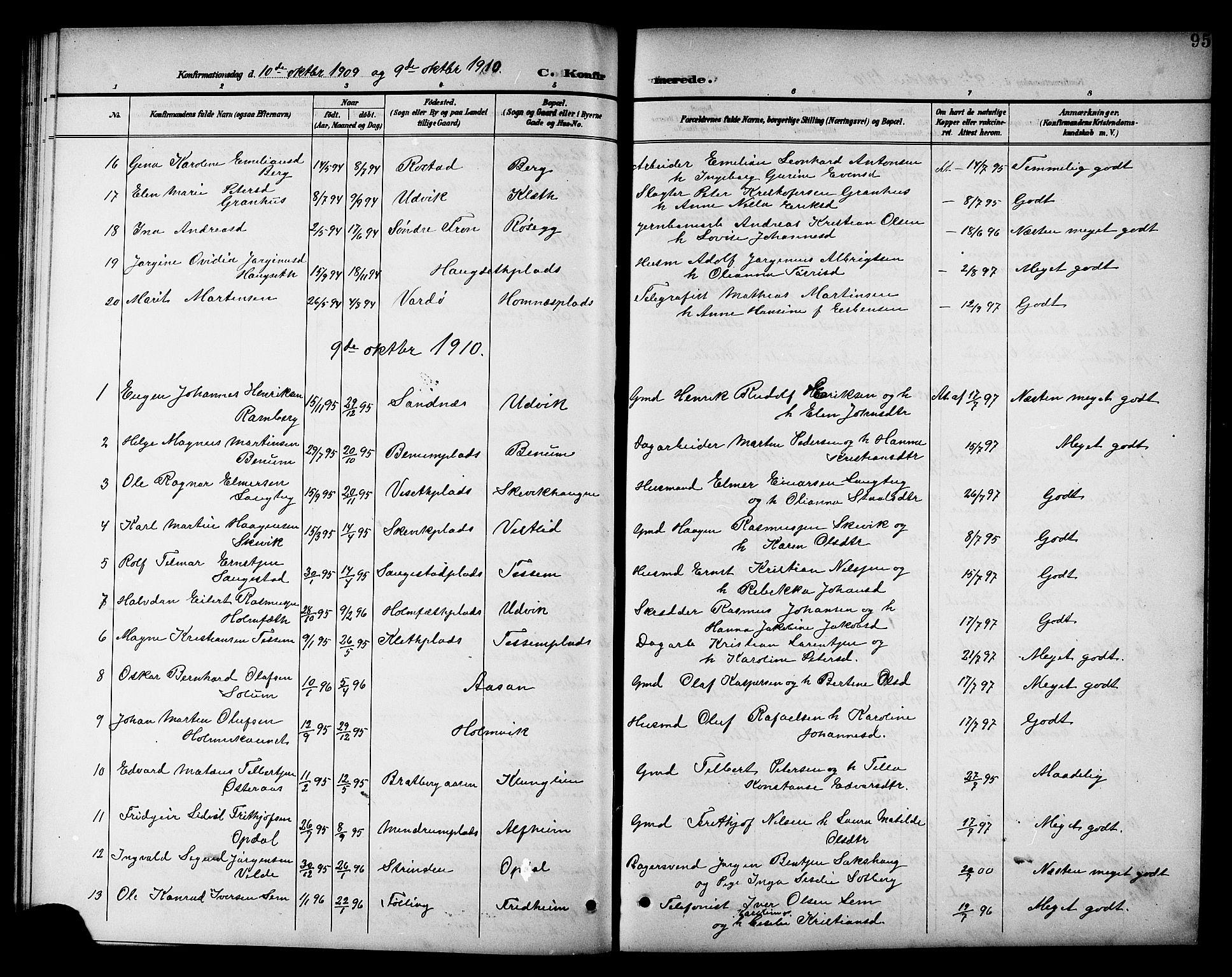 SAT, Ministerialprotokoller, klokkerbøker og fødselsregistre - Nord-Trøndelag, 741/L0401: Klokkerbok nr. 741C02, 1899-1911, s. 95