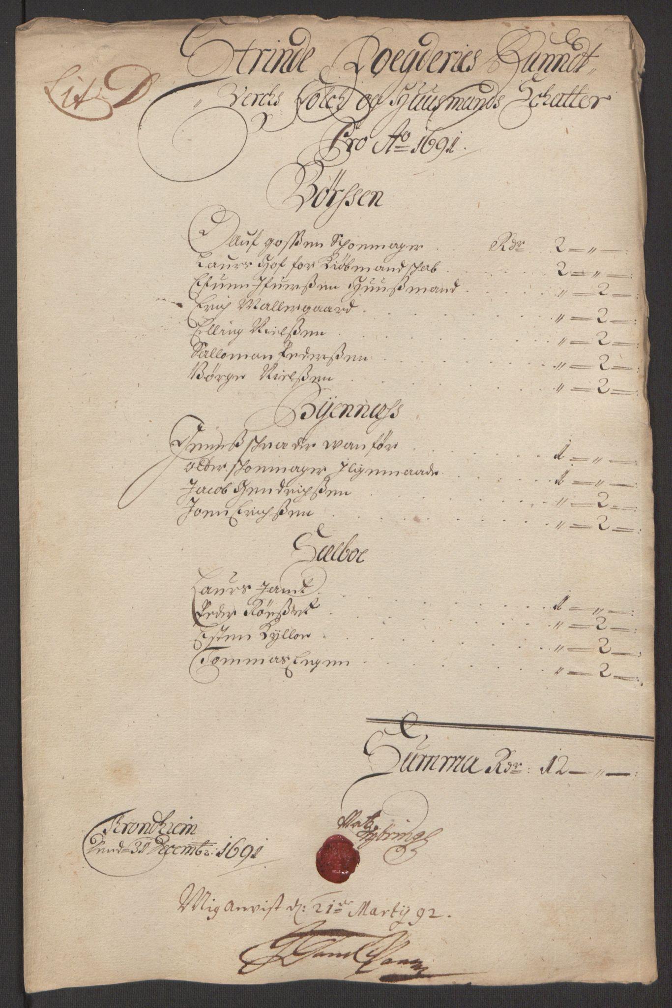 RA, Rentekammeret inntil 1814, Reviderte regnskaper, Fogderegnskap, R61/L4103: Fogderegnskap Strinda og Selbu, 1691-1692, s. 60
