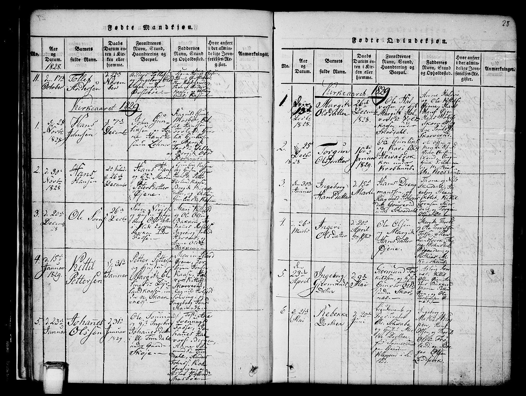 SAKO, Hjartdal kirkebøker, G/Gb/L0001: Klokkerbok nr. II 1, 1815-1842, s. 28