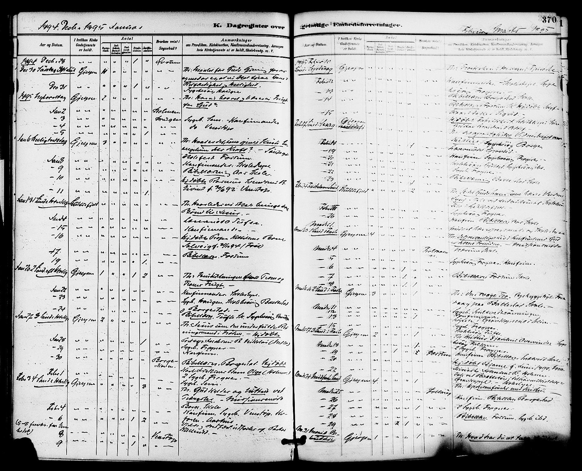 SAKO, Gjerpen kirkebøker, F/Fa/L0010: Ministerialbok nr. 10, 1886-1895, s. 370