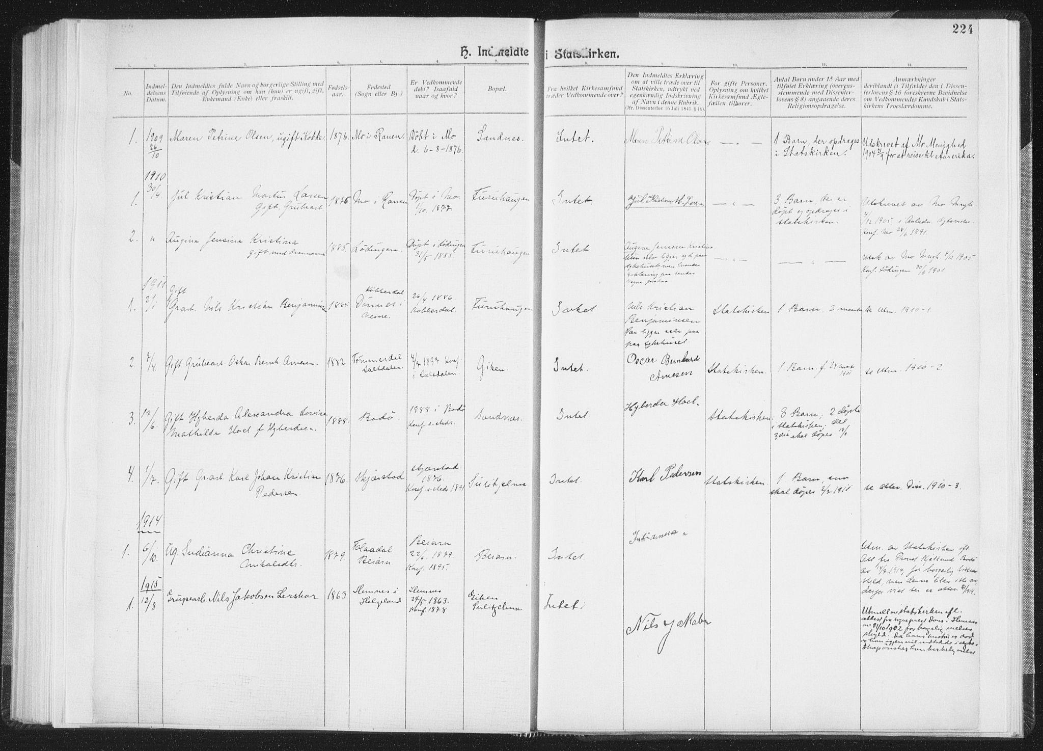 SAT, Ministerialprotokoller, klokkerbøker og fødselsregistre - Nordland, 850/L0711: Residerende kapellans bok nr. 850B01, 1902-1915, s. 224