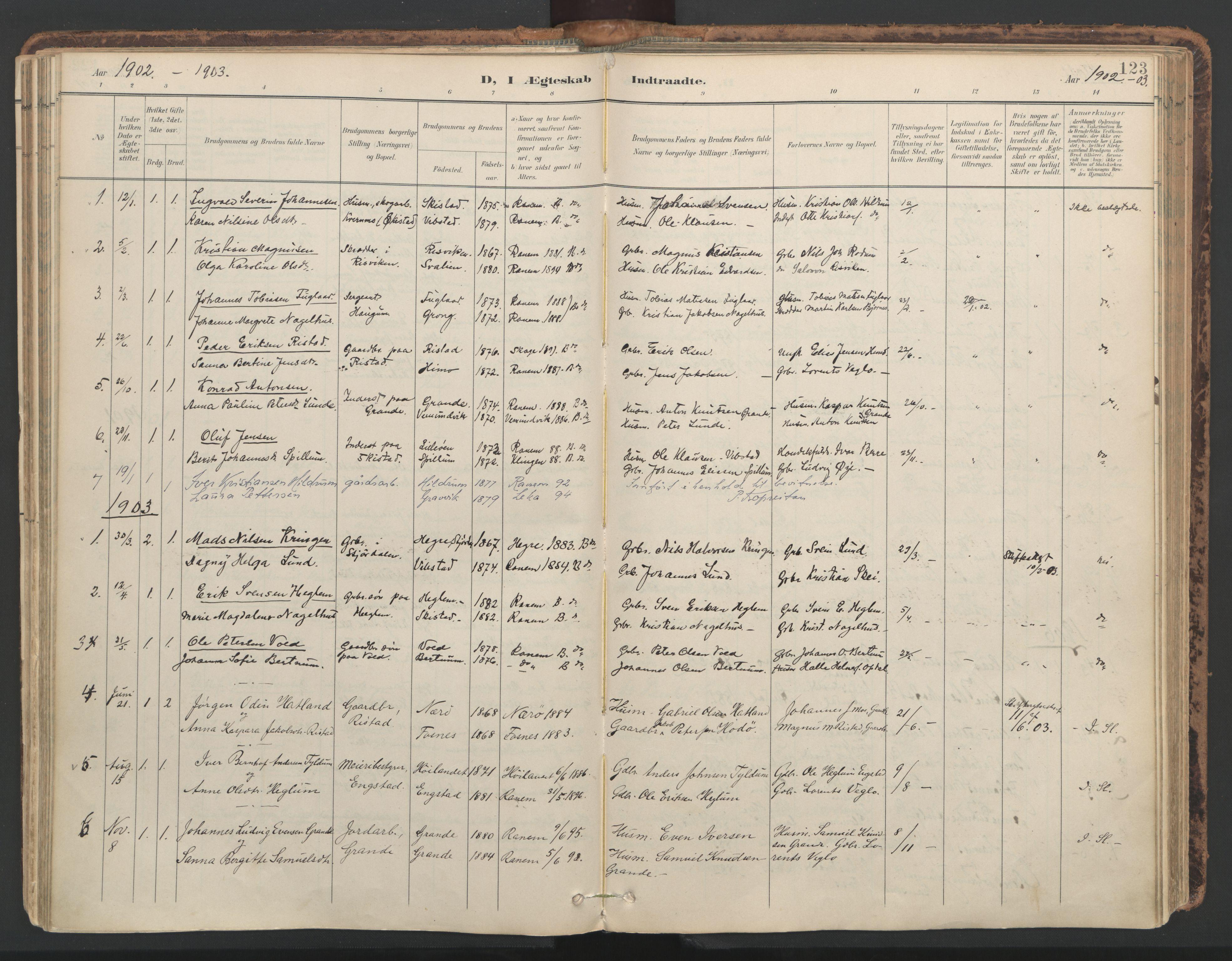 SAT, Ministerialprotokoller, klokkerbøker og fødselsregistre - Nord-Trøndelag, 764/L0556: Ministerialbok nr. 764A11, 1897-1924, s. 123