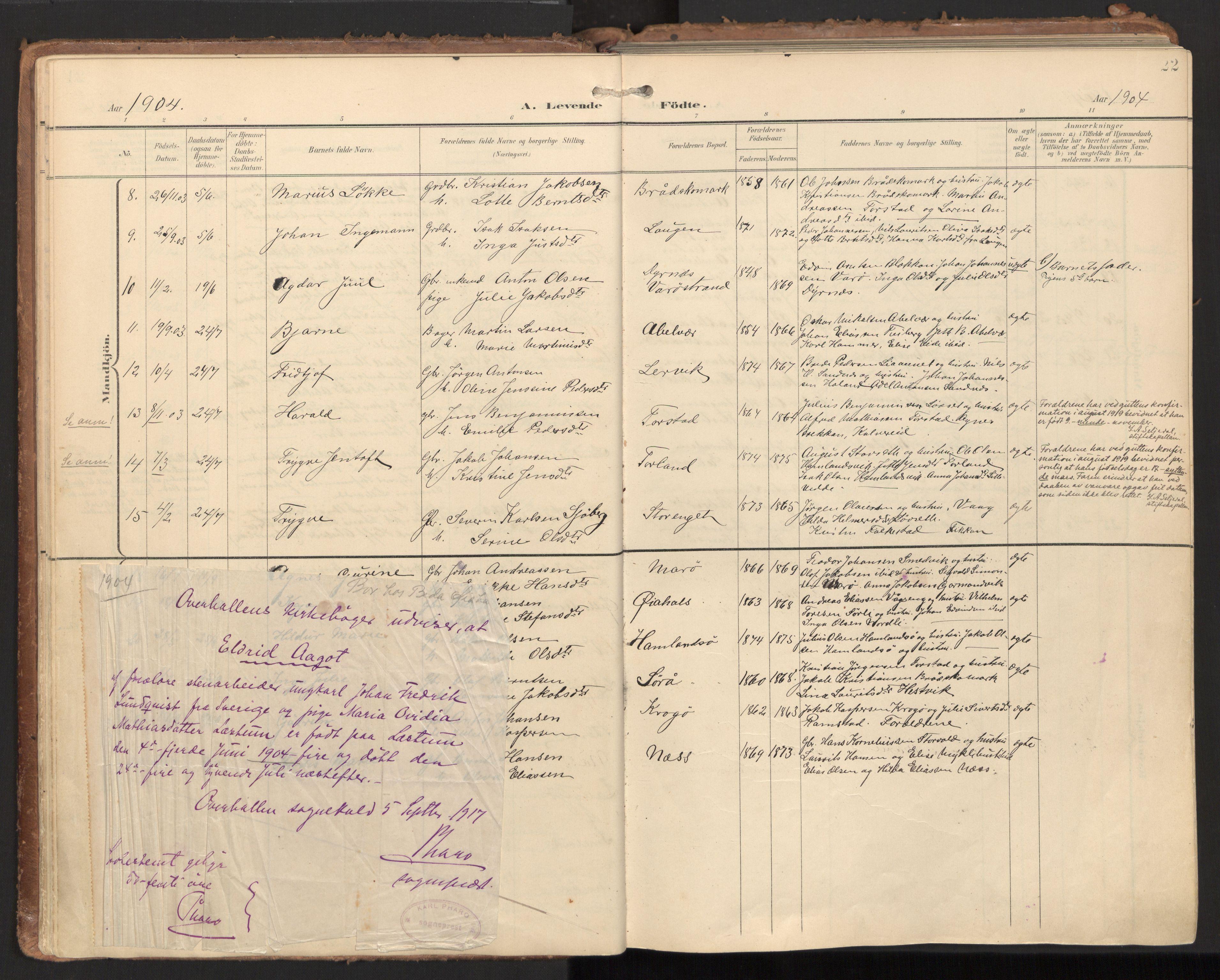 SAT, Ministerialprotokoller, klokkerbøker og fødselsregistre - Nord-Trøndelag, 784/L0677: Ministerialbok nr. 784A12, 1900-1920
