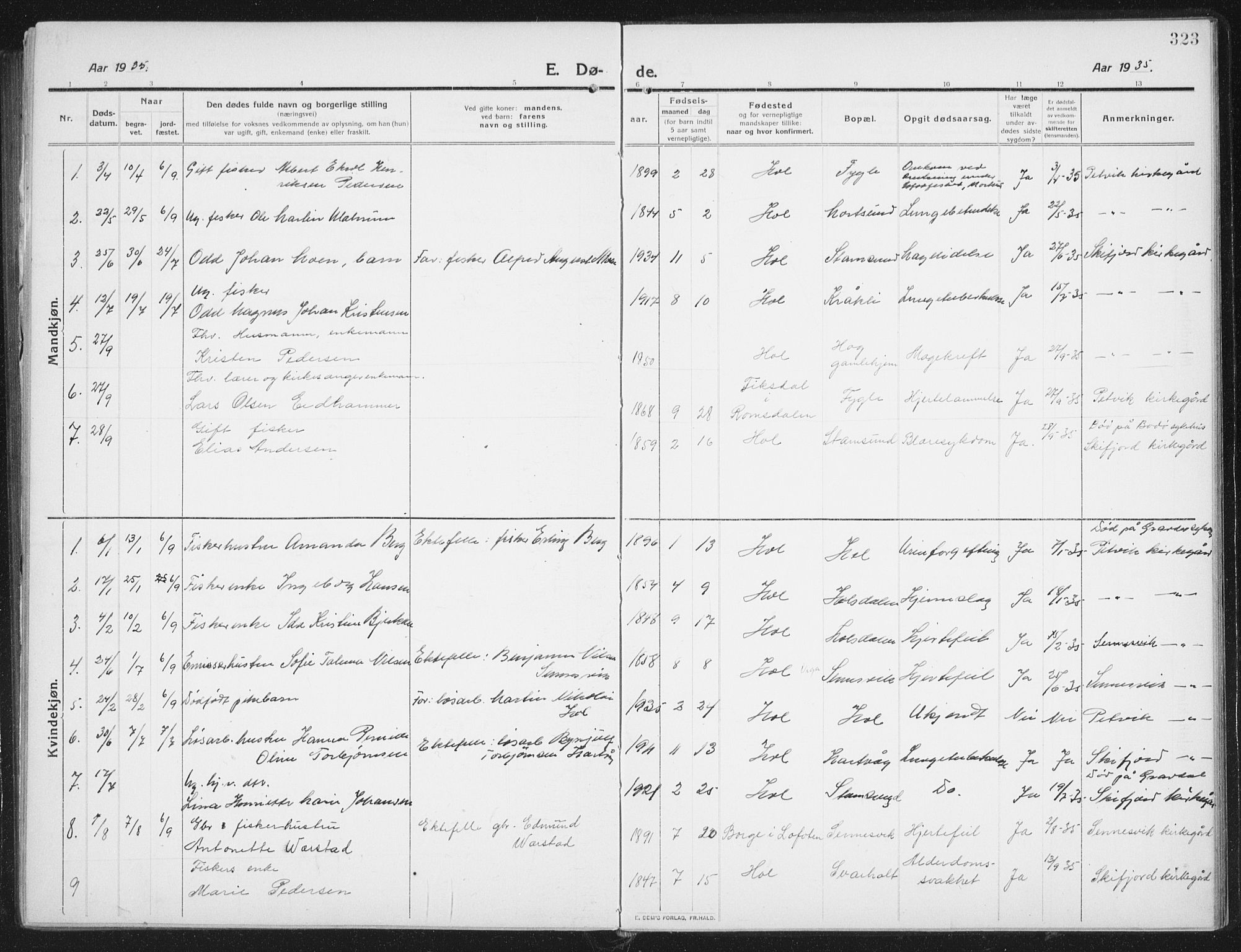 SAT, Ministerialprotokoller, klokkerbøker og fødselsregistre - Nordland, 882/L1183: Klokkerbok nr. 882C01, 1911-1938, s. 323