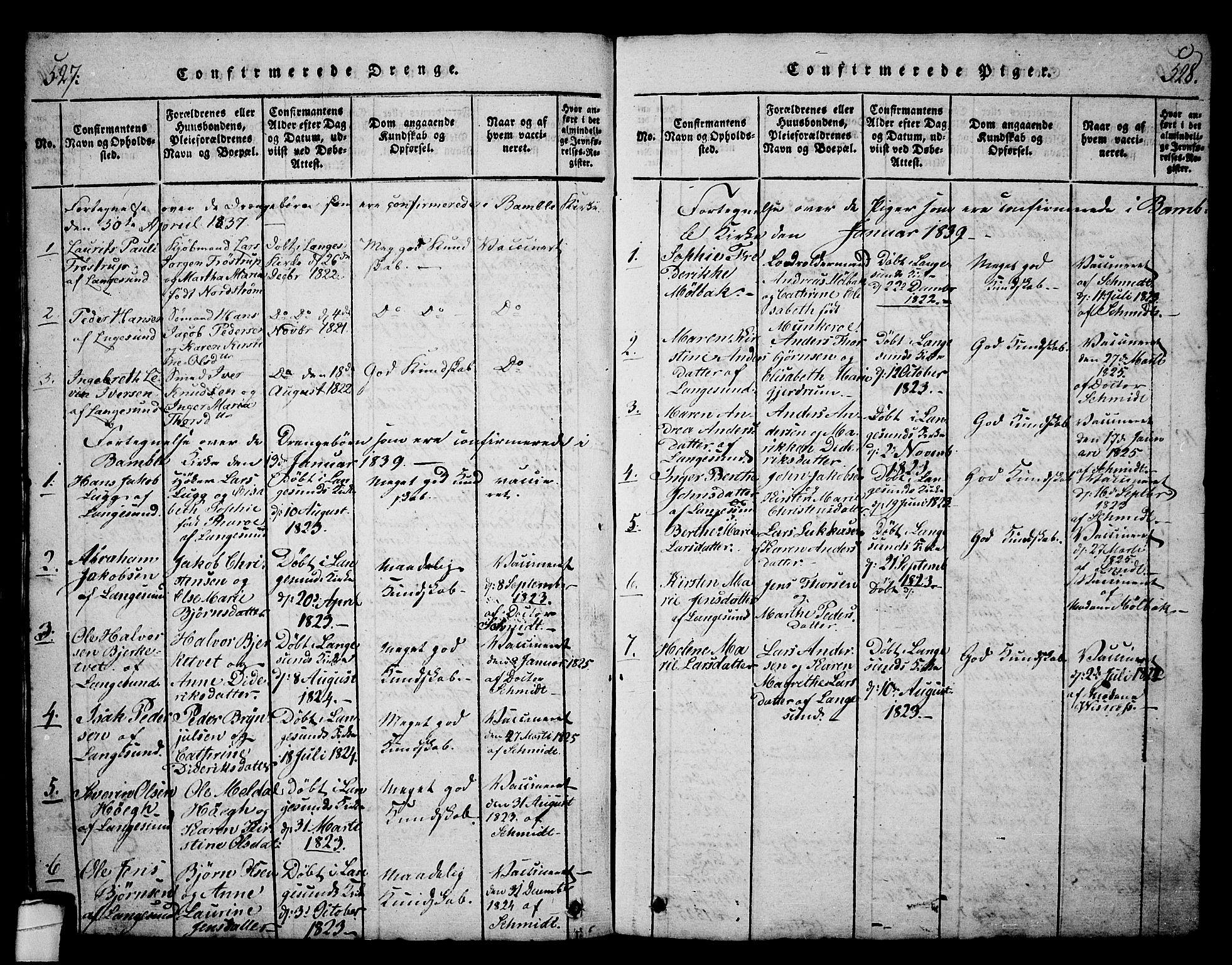 SAKO, Langesund kirkebøker, G/Ga/L0003: Klokkerbok nr. 3, 1815-1858, s. 527-528