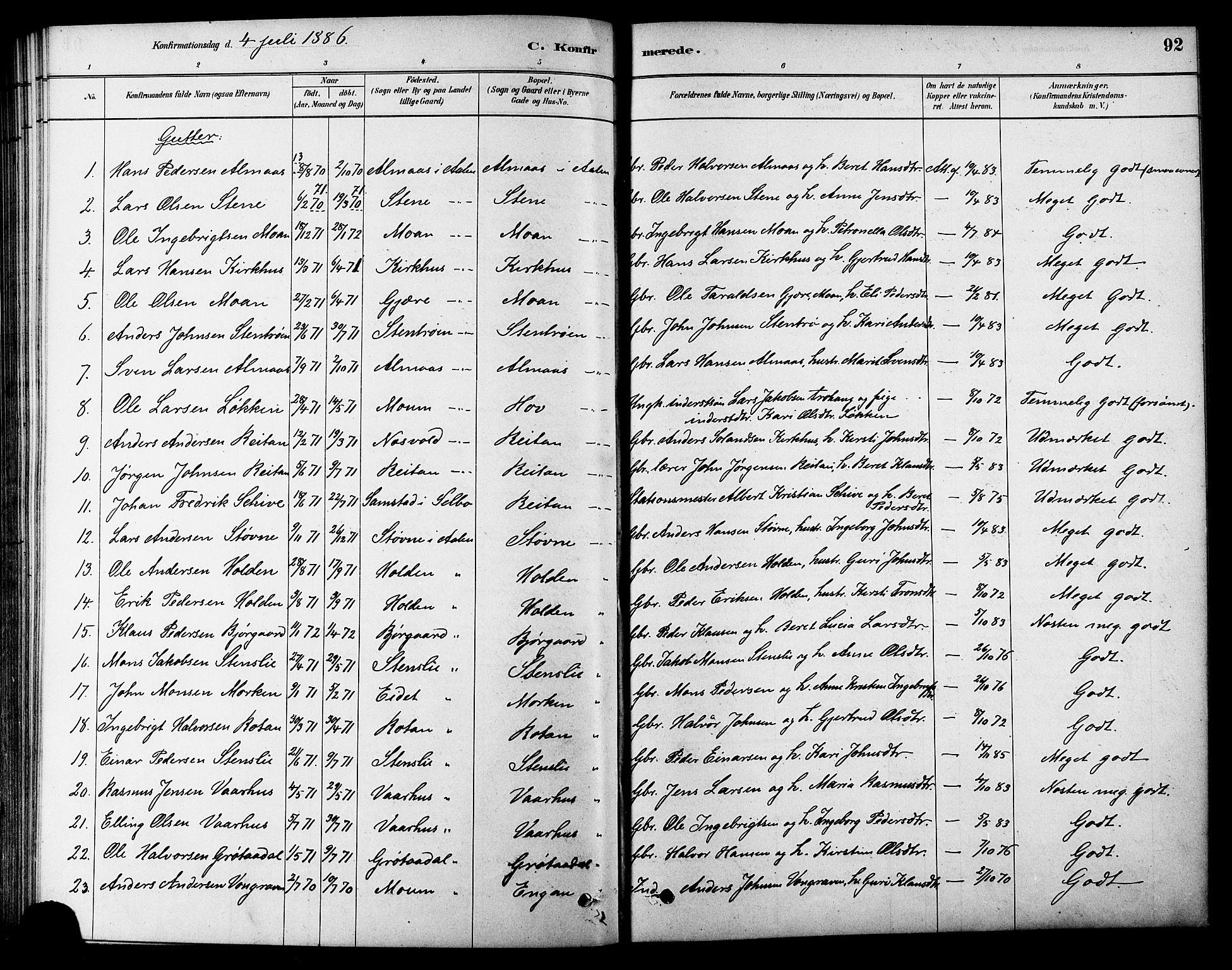 SAT, Ministerialprotokoller, klokkerbøker og fødselsregistre - Sør-Trøndelag, 686/L0983: Ministerialbok nr. 686A01, 1879-1890, s. 92