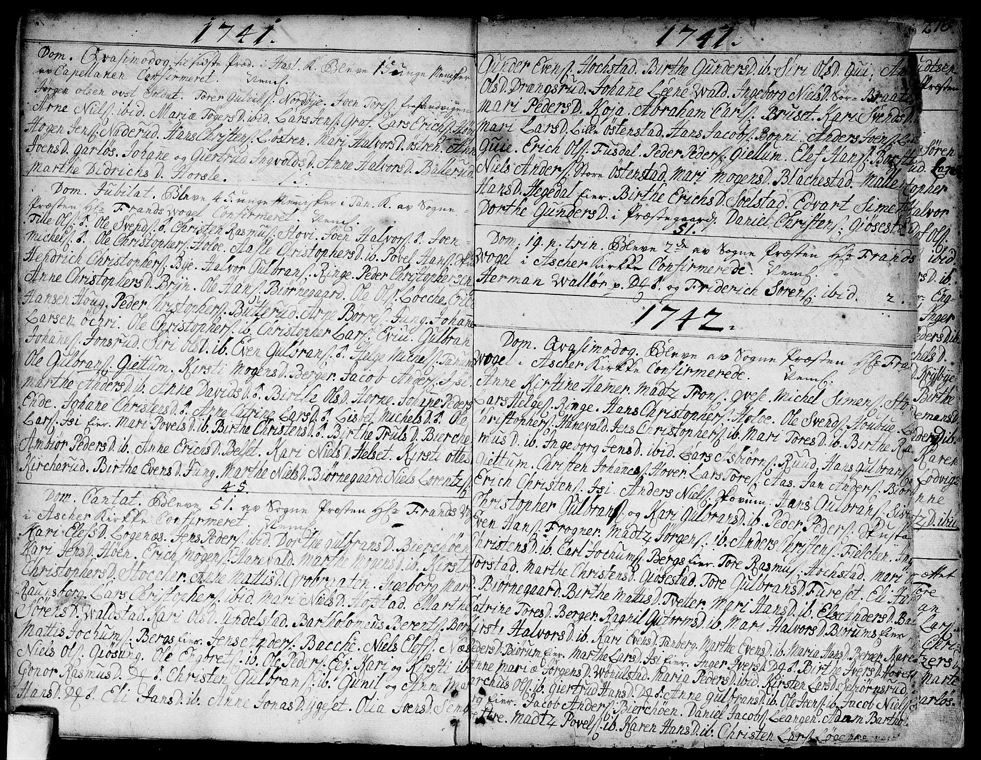 SAO, Asker prestekontor Kirkebøker, F/Fa/L0002: Ministerialbok nr. I 2, 1733-1766, s. 275