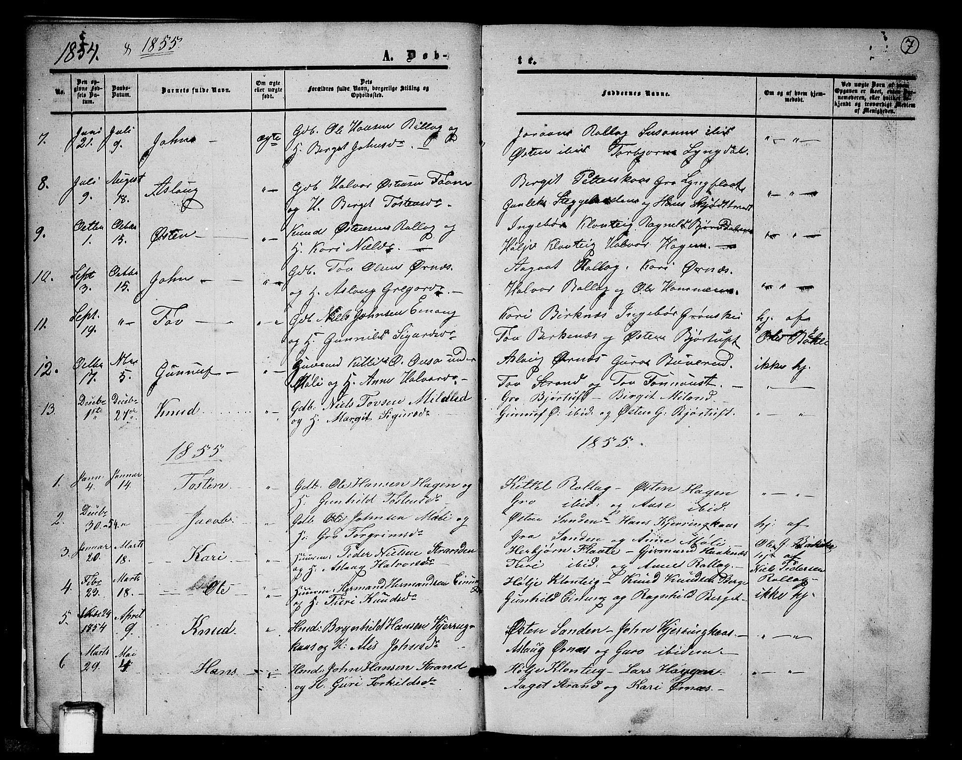 SAKO, Tinn kirkebøker, G/Gb/L0002: Klokkerbok nr. II 2, 1851-1886, s. 7