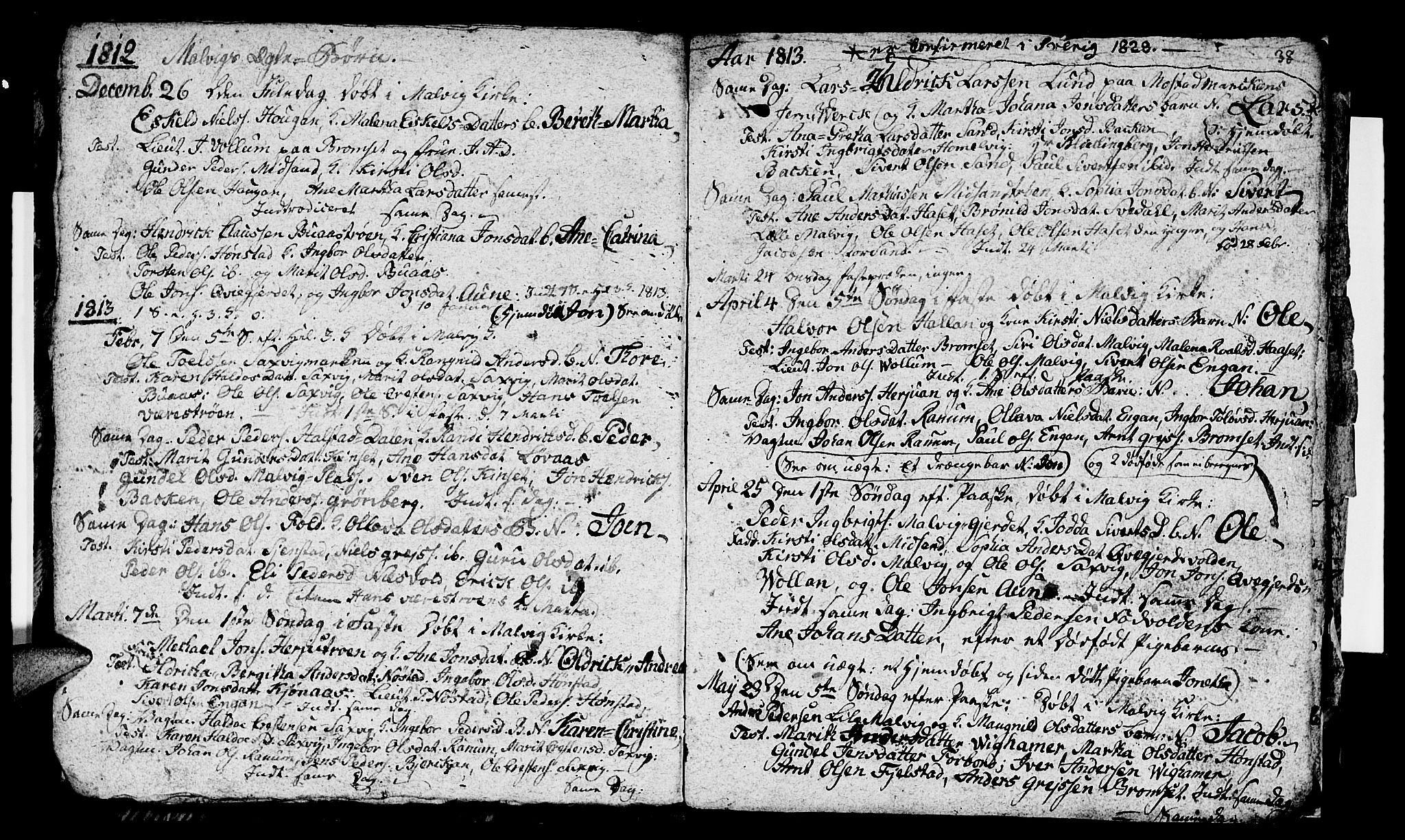 SAT, Ministerialprotokoller, klokkerbøker og fødselsregistre - Sør-Trøndelag, 616/L0419: Klokkerbok nr. 616C02, 1797-1816, s. 38