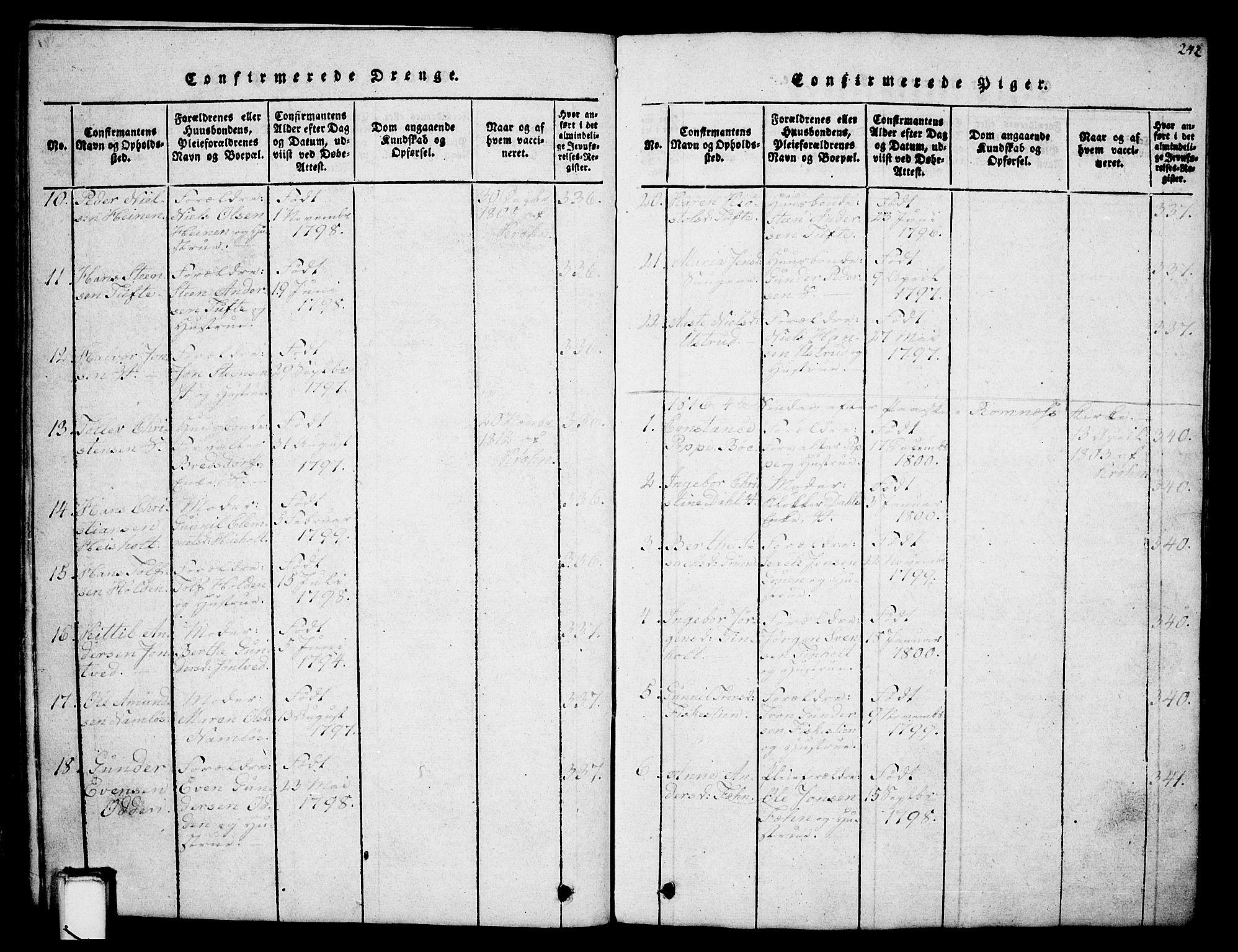 SAKO, Holla kirkebøker, G/Ga/L0001: Klokkerbok nr. I 1, 1814-1830, s. 242