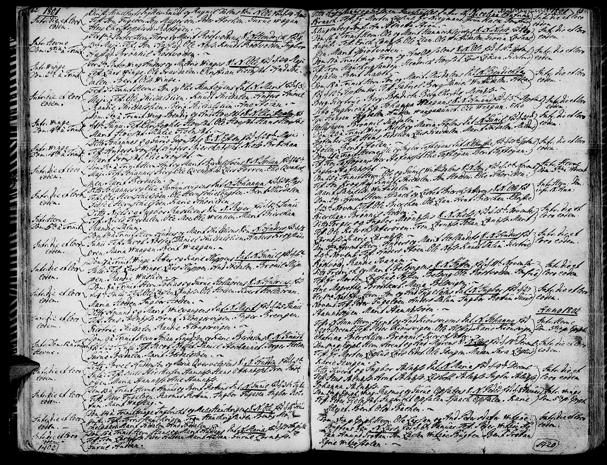 SAT, Ministerialprotokoller, klokkerbøker og fødselsregistre - Sør-Trøndelag, 630/L0490: Ministerialbok nr. 630A03, 1795-1818, s. 62-63