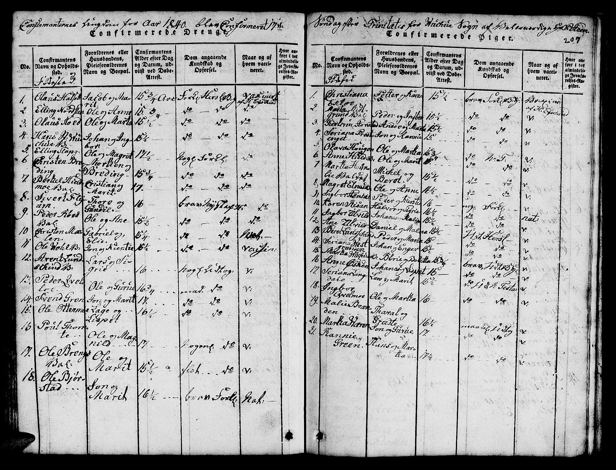 SAT, Ministerialprotokoller, klokkerbøker og fødselsregistre - Nord-Trøndelag, 724/L0265: Klokkerbok nr. 724C01, 1816-1845, s. 207