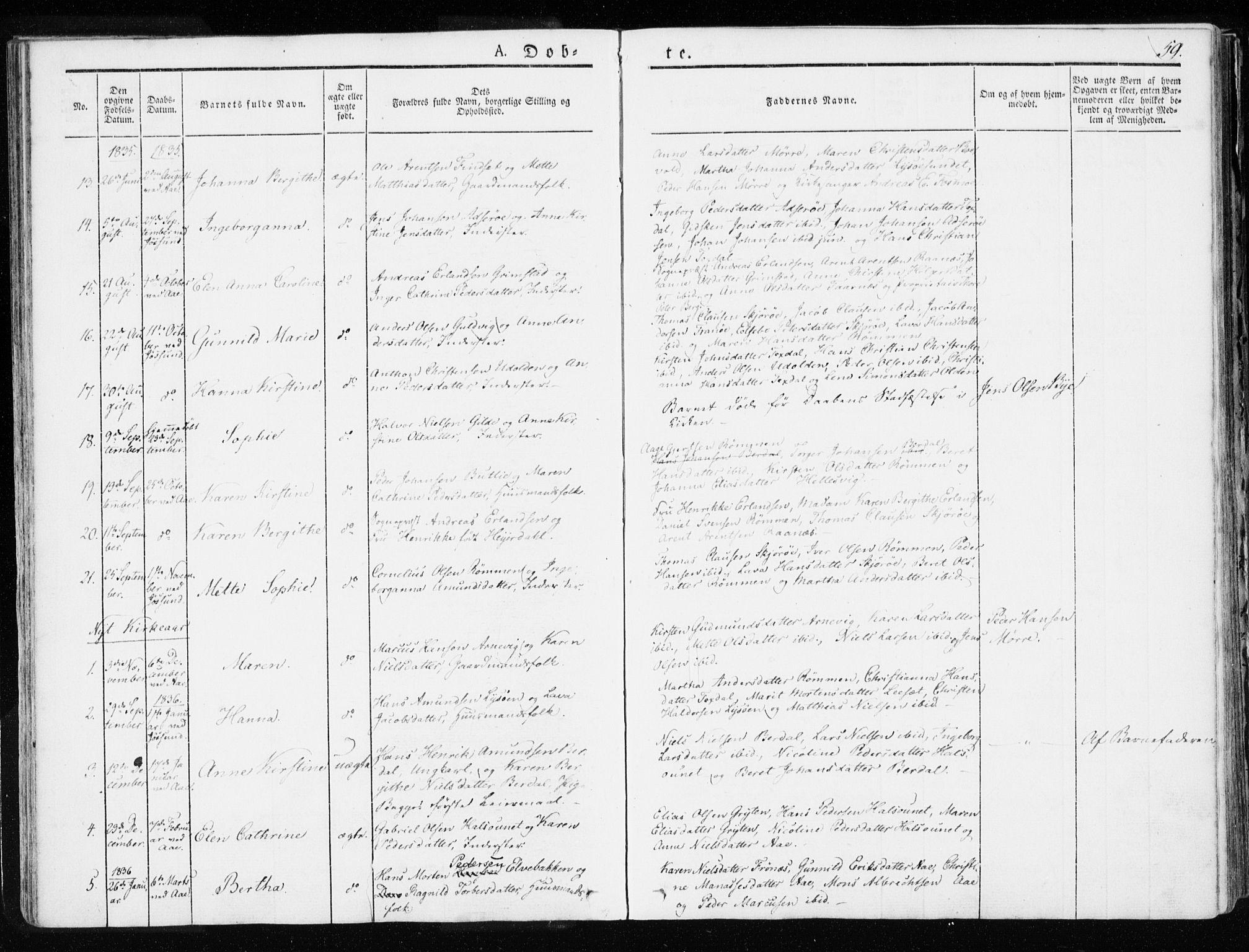 SAT, Ministerialprotokoller, klokkerbøker og fødselsregistre - Sør-Trøndelag, 655/L0676: Ministerialbok nr. 655A05, 1830-1847, s. 59