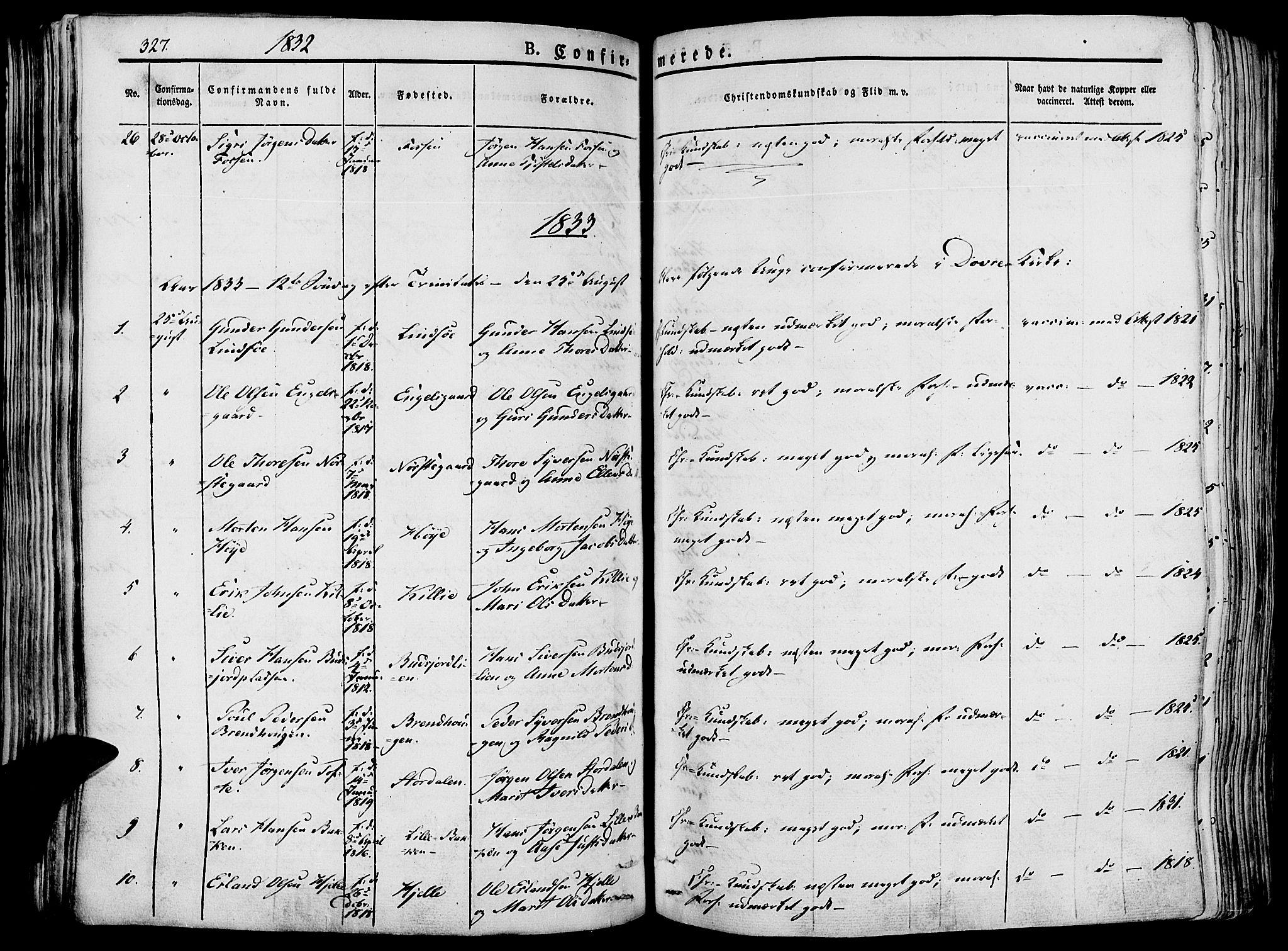 SAH, Lesja prestekontor, Ministerialbok nr. 5, 1830-1842, s. 327