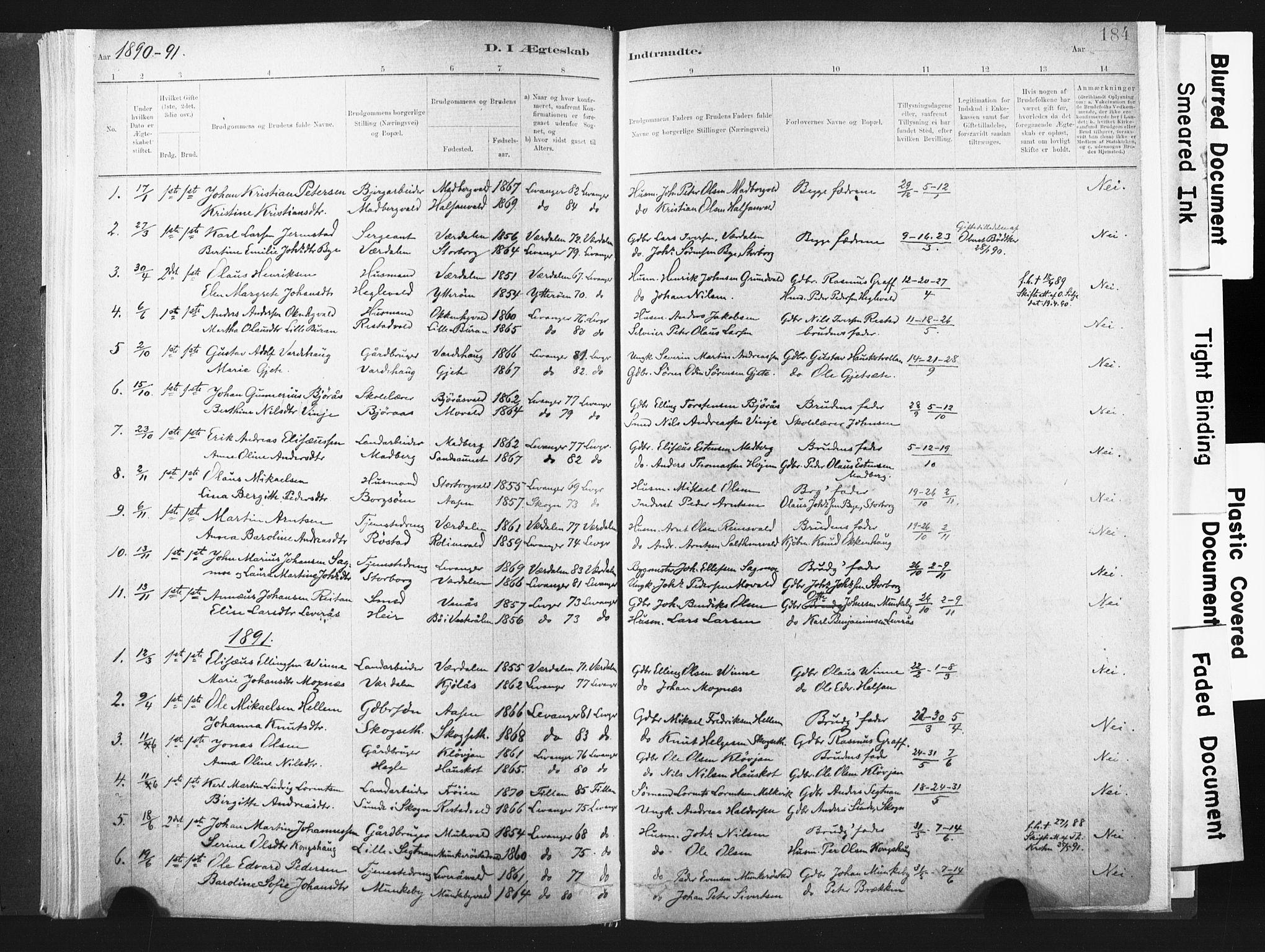 SAT, Ministerialprotokoller, klokkerbøker og fødselsregistre - Nord-Trøndelag, 721/L0207: Ministerialbok nr. 721A02, 1880-1911, s. 184