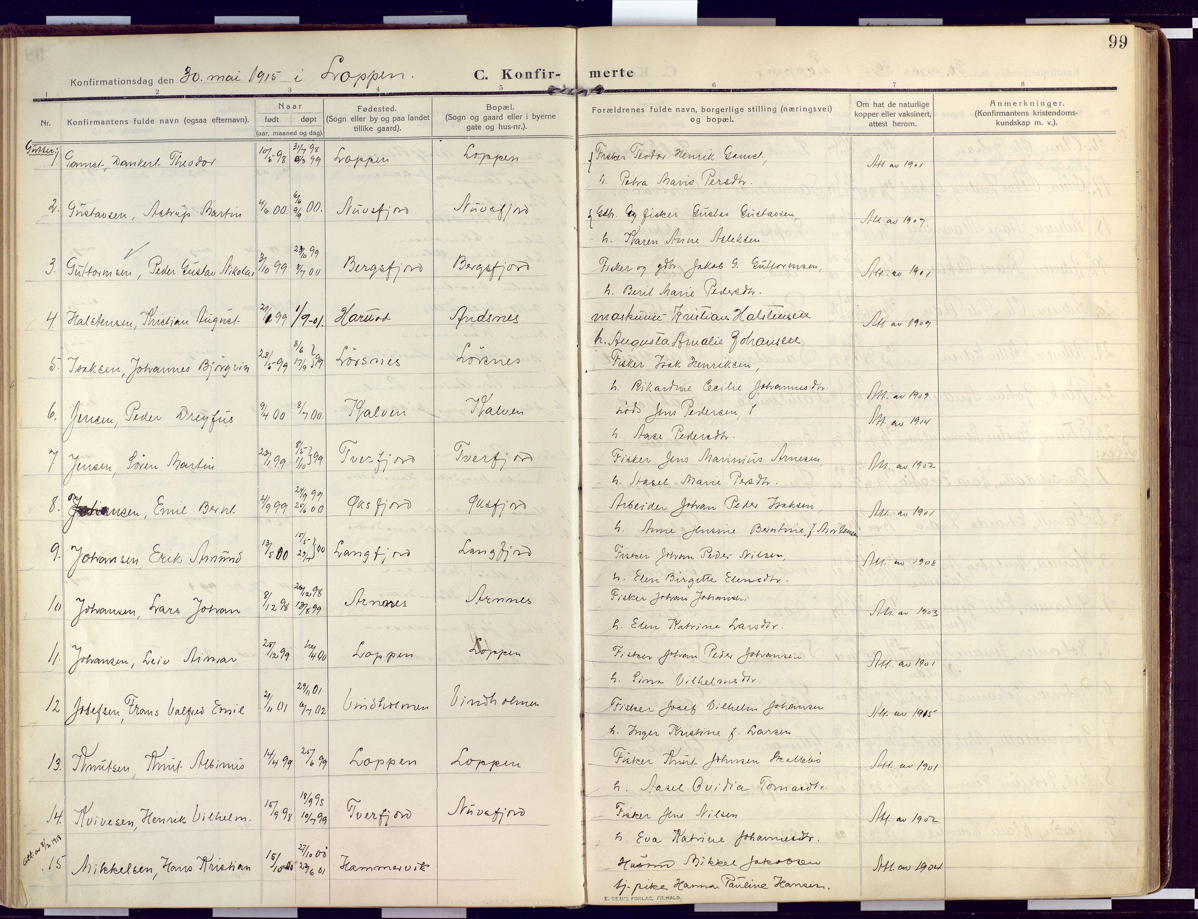 SATØ, Loppa sokneprestkontor, H/Ha/L0011kirke: Ministerialbok nr. 11, 1909-1919, s. 99