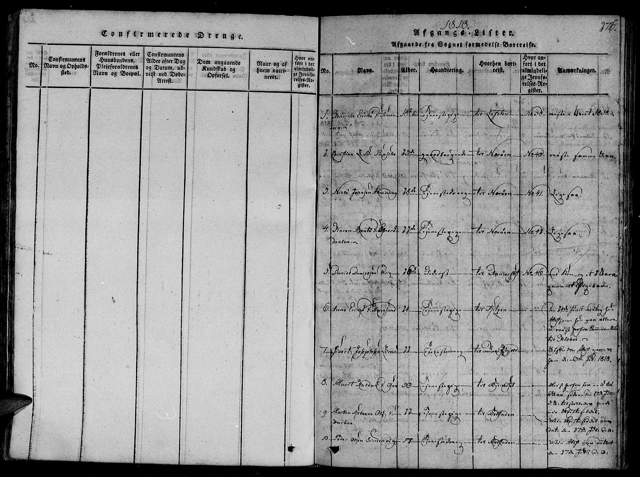 SAT, Ministerialprotokoller, klokkerbøker og fødselsregistre - Sør-Trøndelag, 657/L0702: Ministerialbok nr. 657A03, 1818-1831, s. 276