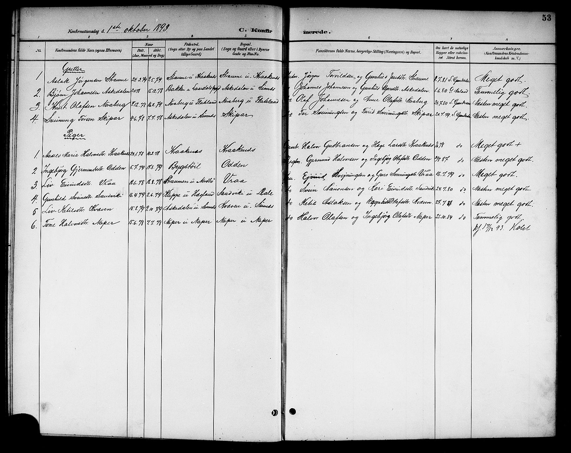 SAKO, Kviteseid kirkebøker, G/Gc/L0001: Klokkerbok nr. III 1, 1893-1916, s. 53