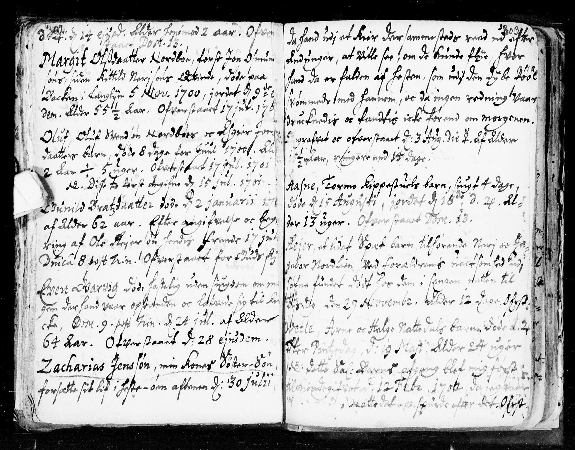 SAKO, Seljord kirkebøker, F/Fa/L0002: Ministerialbok nr. I 2, 1689-1713, s. 302-303