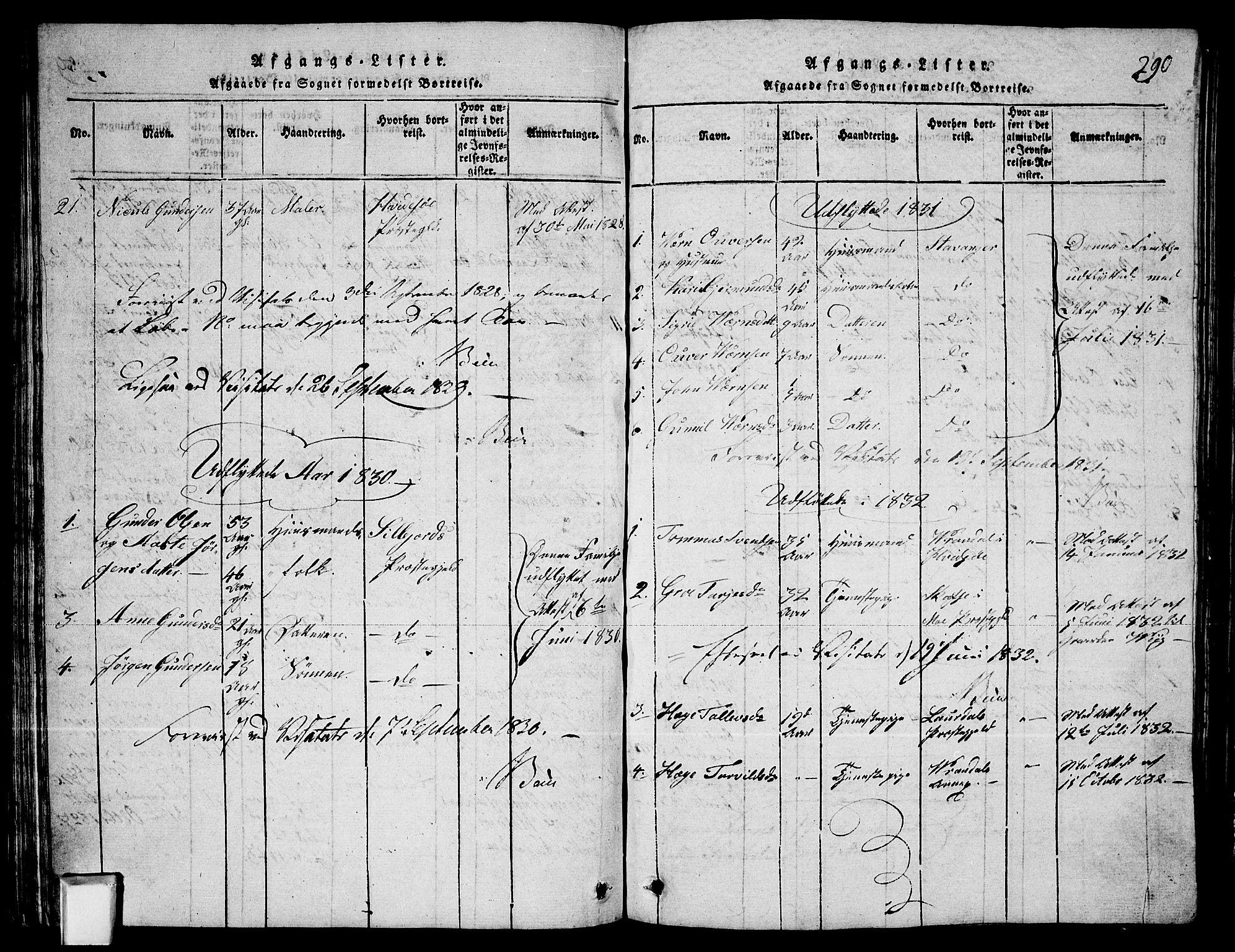 SAKO, Fyresdal kirkebøker, G/Ga/L0003: Klokkerbok nr. I 3, 1815-1863, s. 290
