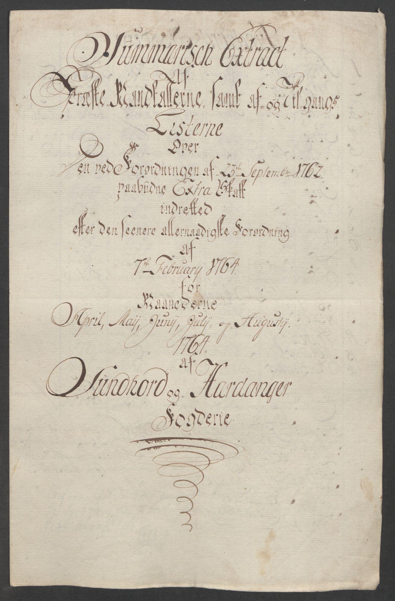 RA, Rentekammeret inntil 1814, Reviderte regnskaper, Fogderegnskap, R48/L3136: Ekstraskatten Sunnhordland og Hardanger, 1762-1772, s. 73
