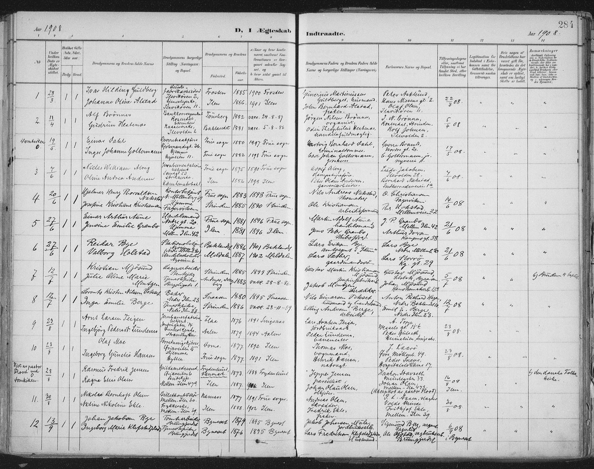 SAT, Ministerialprotokoller, klokkerbøker og fødselsregistre - Sør-Trøndelag, 603/L0167: Ministerialbok nr. 603A06, 1896-1932, s. 284