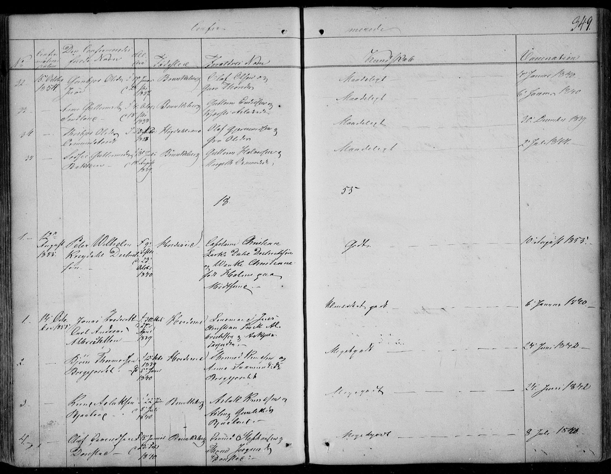 SAKO, Kviteseid kirkebøker, F/Fa/L0006: Ministerialbok nr. I 6, 1836-1858, s. 349