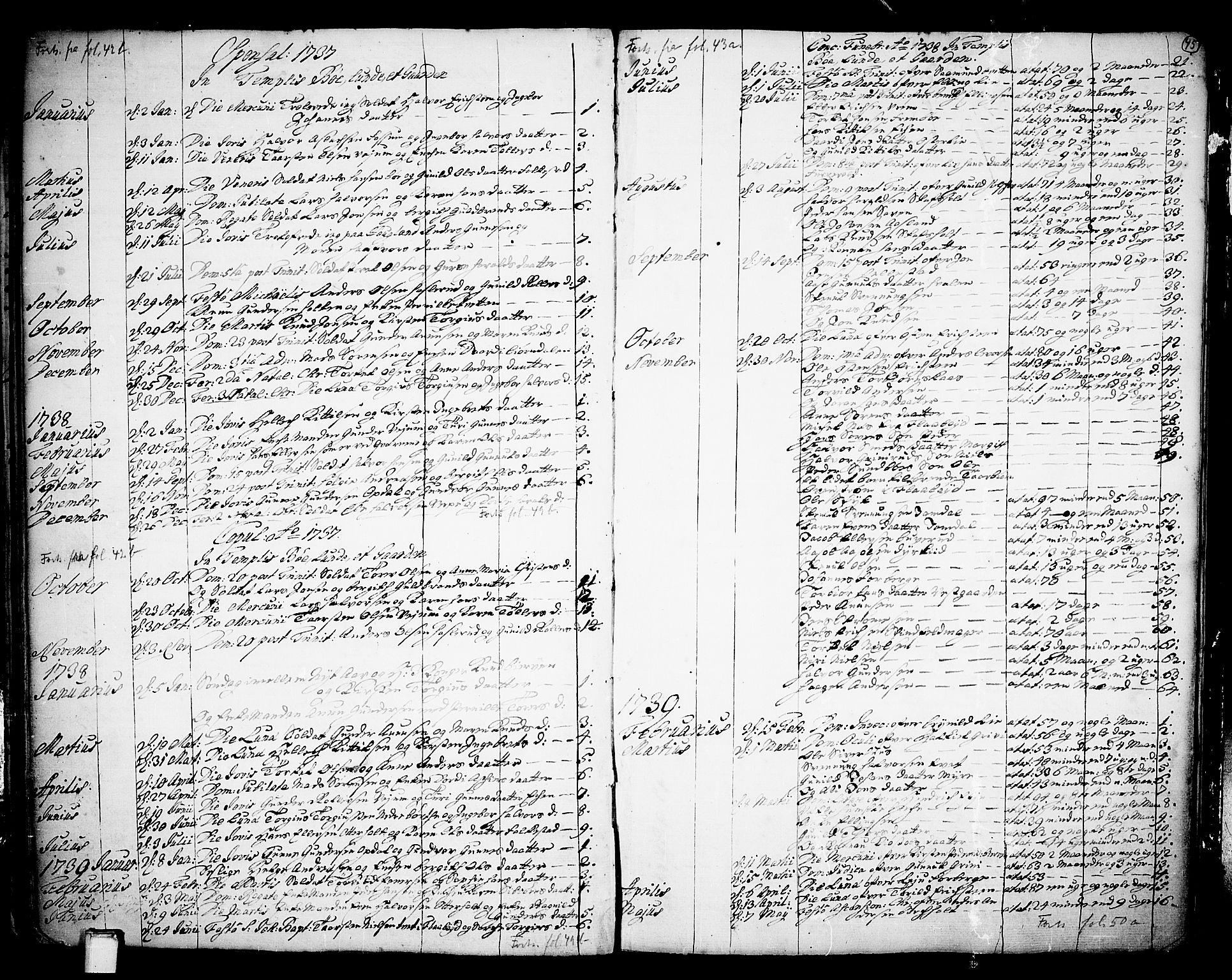 SAKO, Bø kirkebøker, F/Fa/L0003: Ministerialbok nr. 3, 1733-1748, s. 45