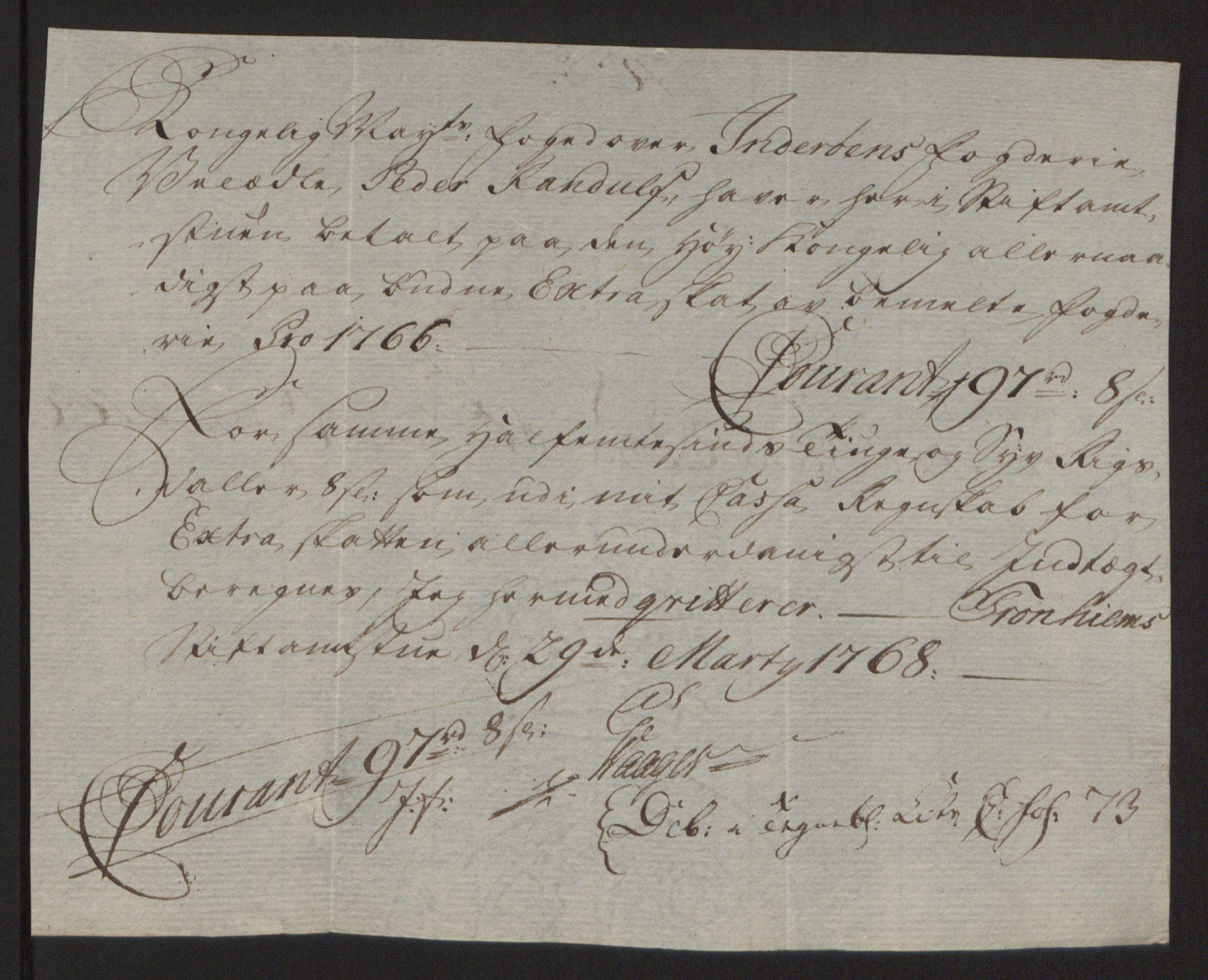 RA, Rentekammeret inntil 1814, Reviderte regnskaper, Fogderegnskap, R63/L4420: Ekstraskatten Inderøy, 1762-1772, s. 209