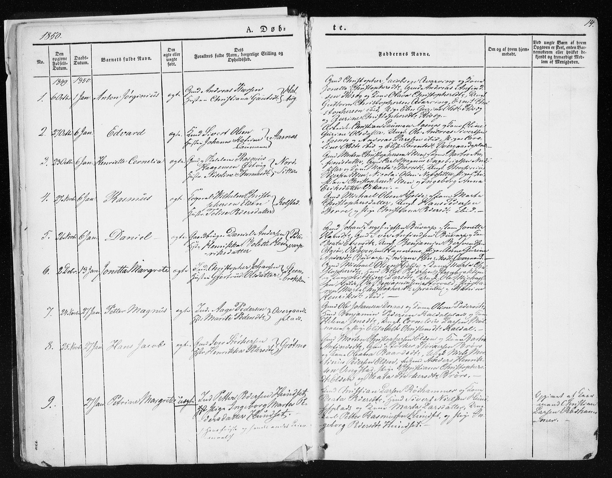 SAT, Ministerialprotokoller, klokkerbøker og fødselsregistre - Nord-Trøndelag, 741/L0393: Ministerialbok nr. 741A07, 1849-1863, s. 14