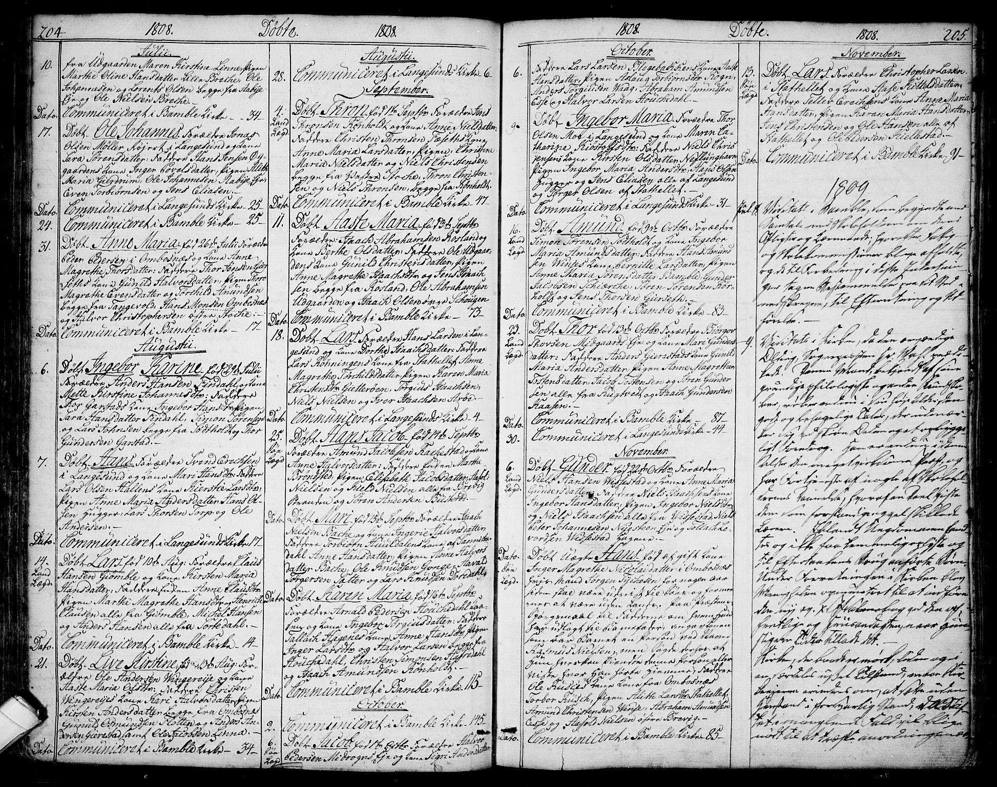 SAKO, Bamble kirkebøker, F/Fa/L0002: Ministerialbok nr. I 2, 1775-1814, s. 204-205