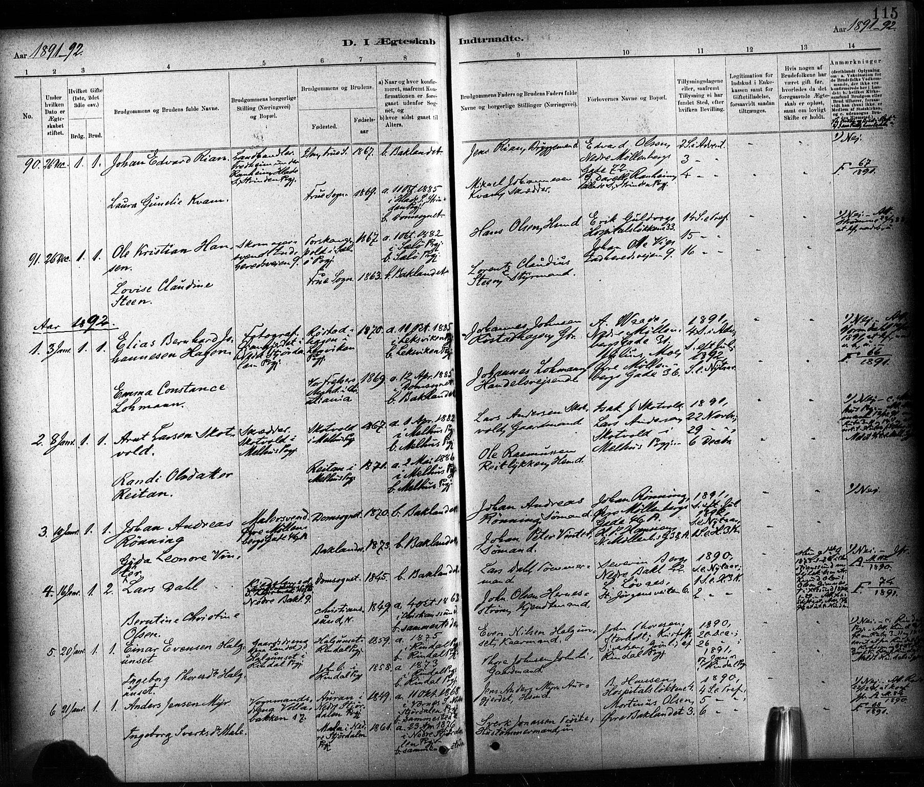 SAT, Ministerialprotokoller, klokkerbøker og fødselsregistre - Sør-Trøndelag, 604/L0189: Ministerialbok nr. 604A10, 1878-1892, s. 115