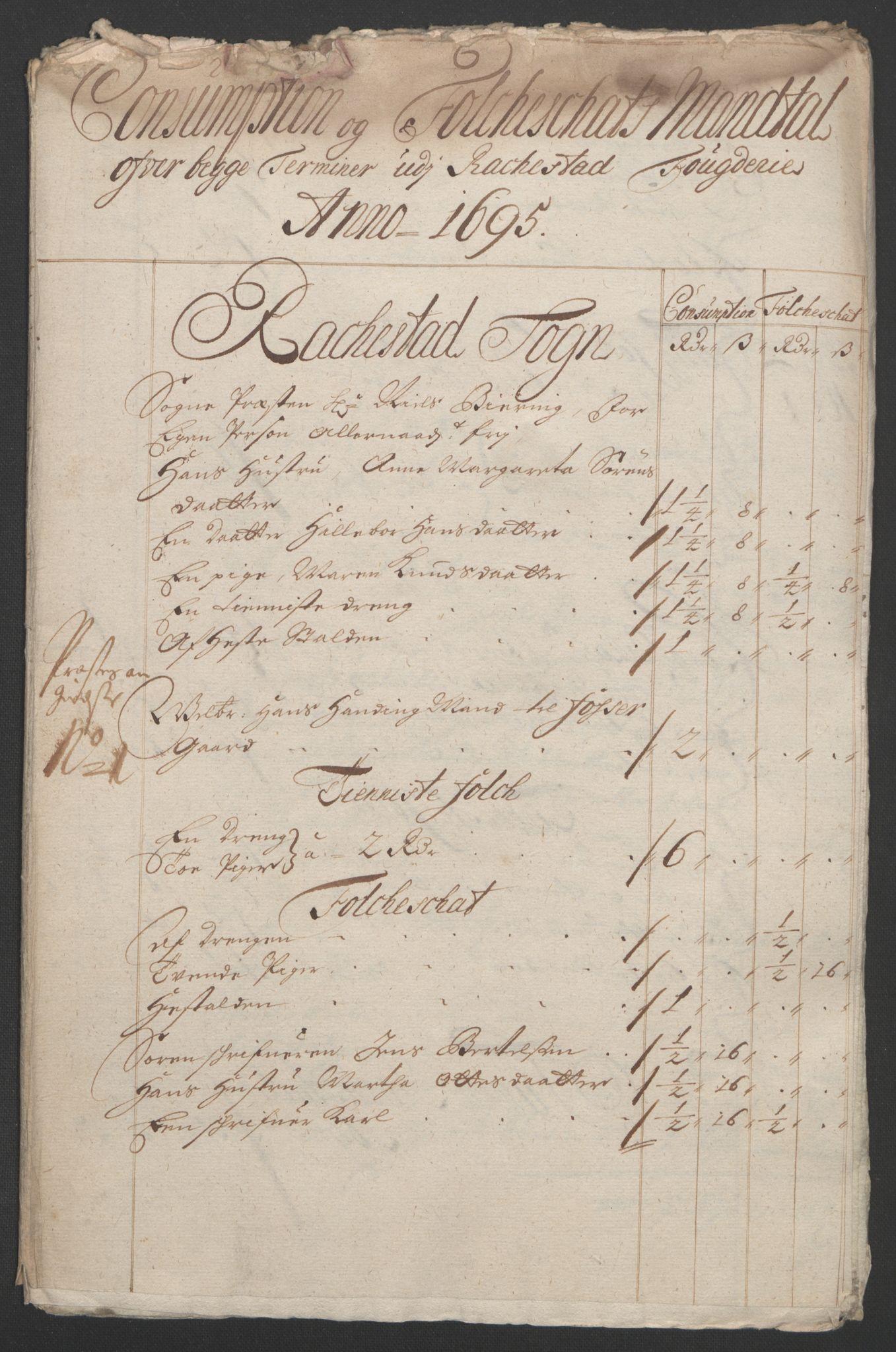 RA, Rentekammeret inntil 1814, Reviderte regnskaper, Fogderegnskap, R07/L0285: Fogderegnskap Rakkestad, Heggen og Frøland, 1695, s. 226