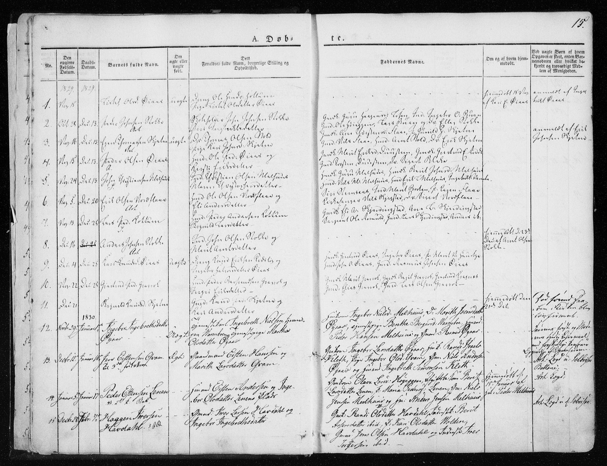 SAT, Ministerialprotokoller, klokkerbøker og fødselsregistre - Sør-Trøndelag, 691/L1069: Ministerialbok nr. 691A04, 1826-1841, s. 15