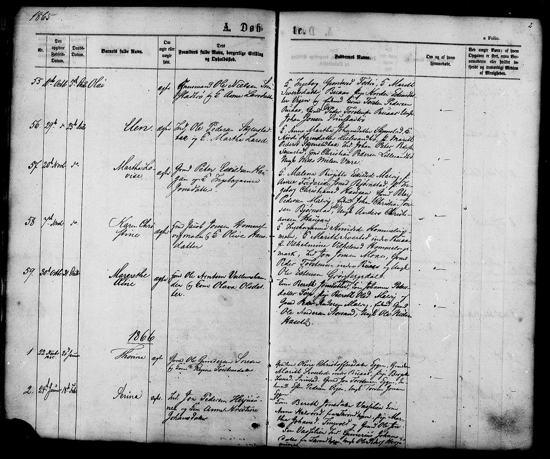 SAT, Ministerialprotokoller, klokkerbøker og fødselsregistre - Sør-Trøndelag, 616/L0409: Ministerialbok nr. 616A06, 1865-1877, s. 2