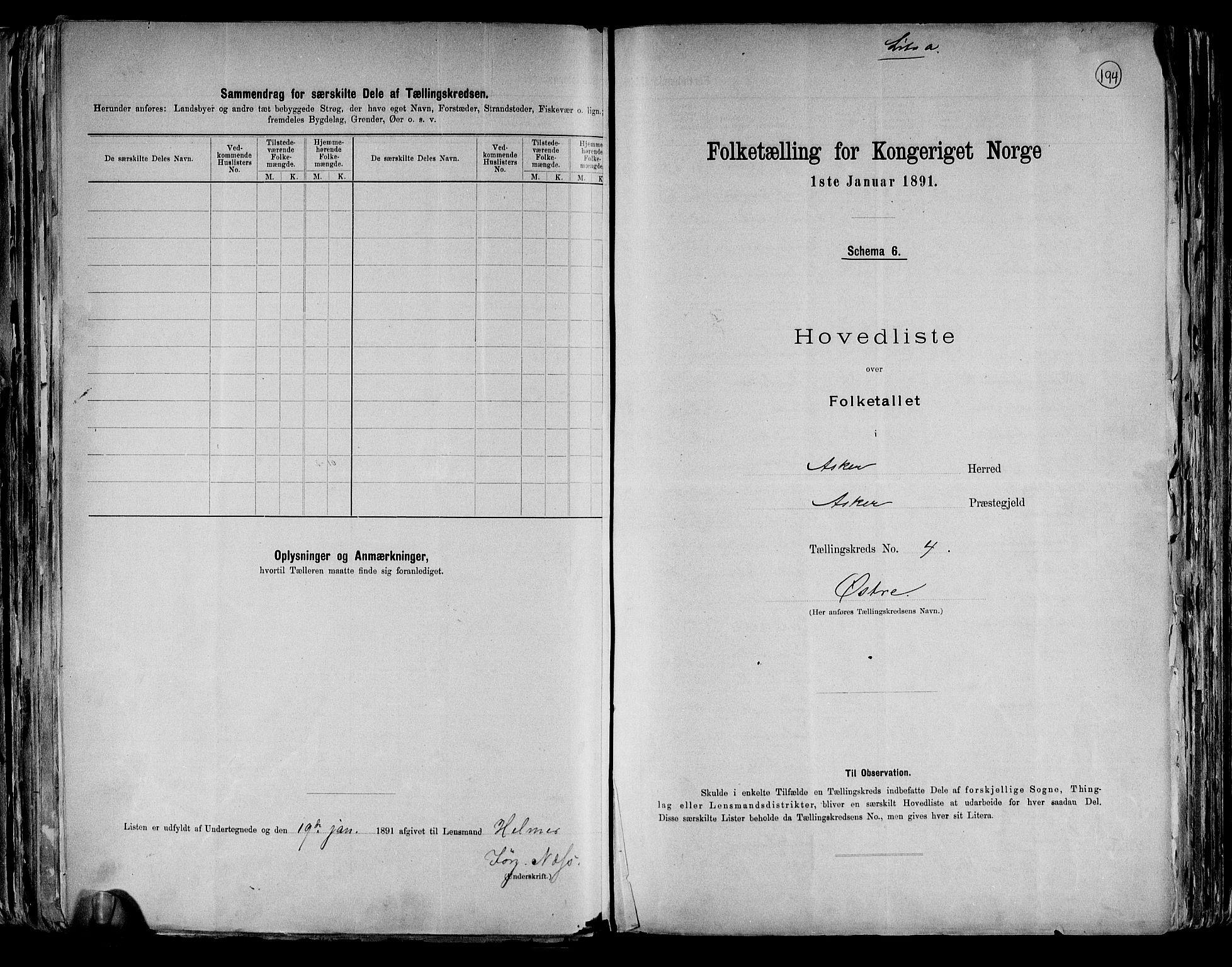 RA, Folketelling 1891 for 0220 Asker herred, 1891, s. 15