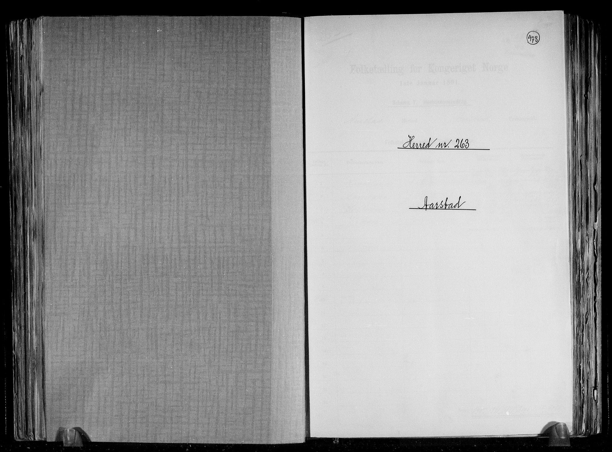 SAB, Folketelling 1891 for 1280 Årstad herred, 1891, s. 1