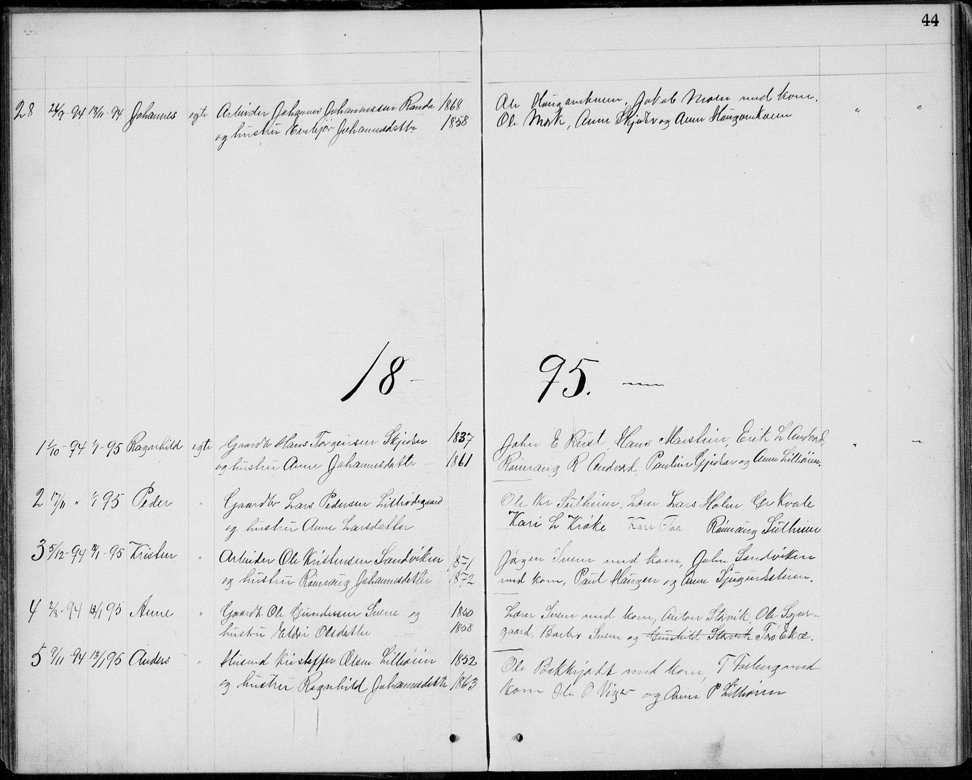SAH, Lom prestekontor, L/L0013: Klokkerbok nr. 13, 1874-1938, s. 44