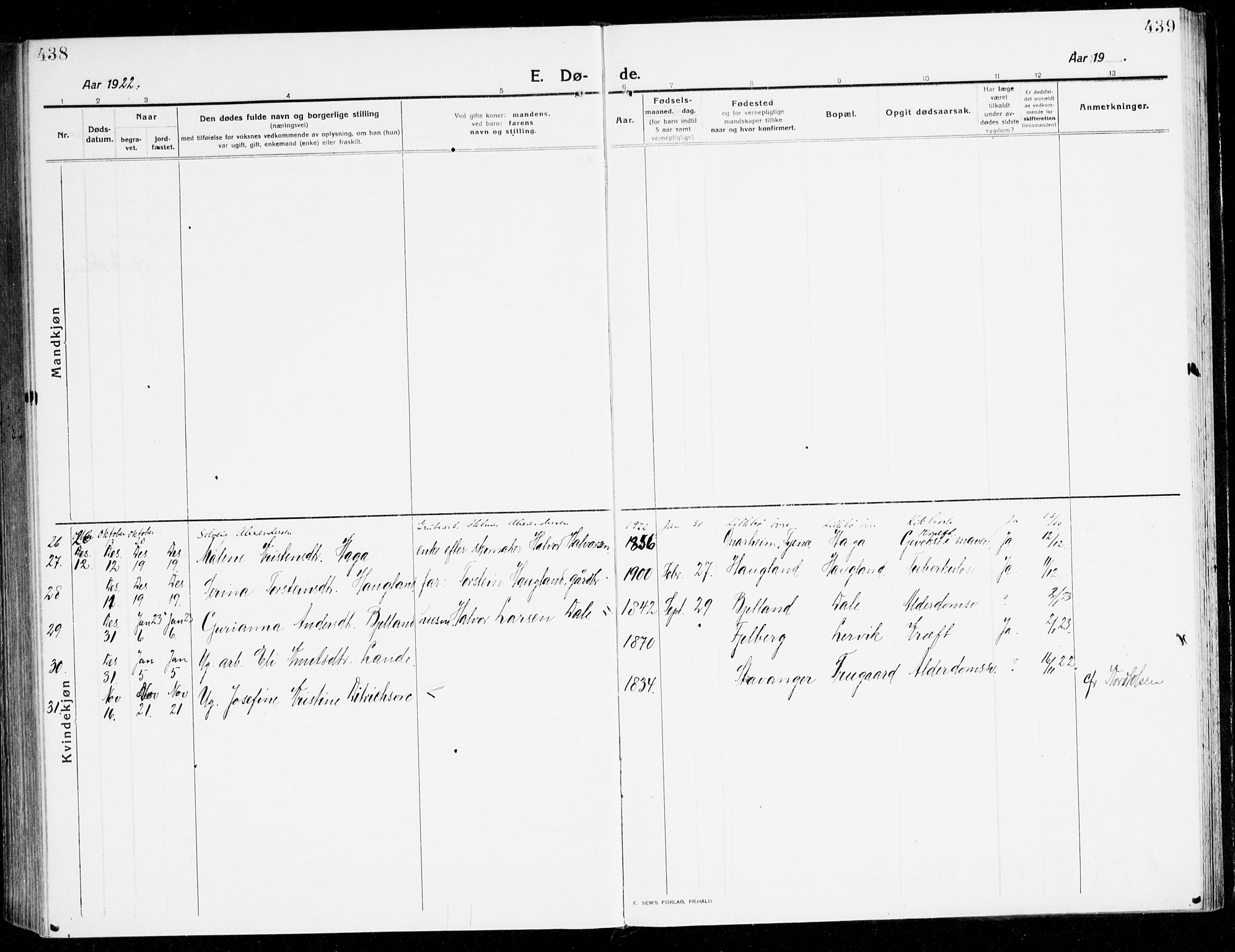 SAB, Stord Sokneprestembete, H/Haa: Ministerialbok nr. B 3, 1913-1925, s. 438-439